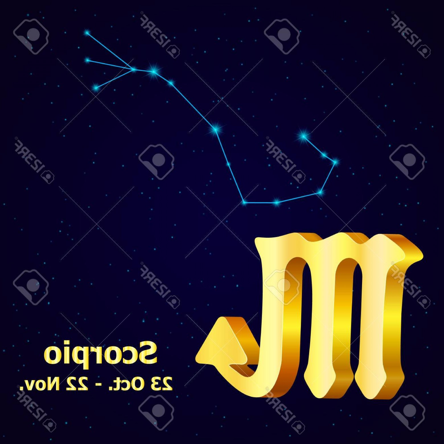October Zodiac Constellation Vector: Photostock Vector Vector Zodiac Sign Scorpio Astrology Gold Scorpio Constellation