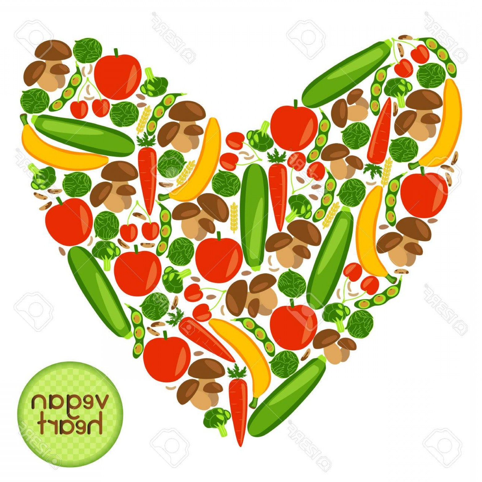 Vegan Heart Vectors: Photostock Vector Vegan Heart Beautifull Background With Fruits Vegetables Berries Mushrooms Wheat And Nuts Vector Col