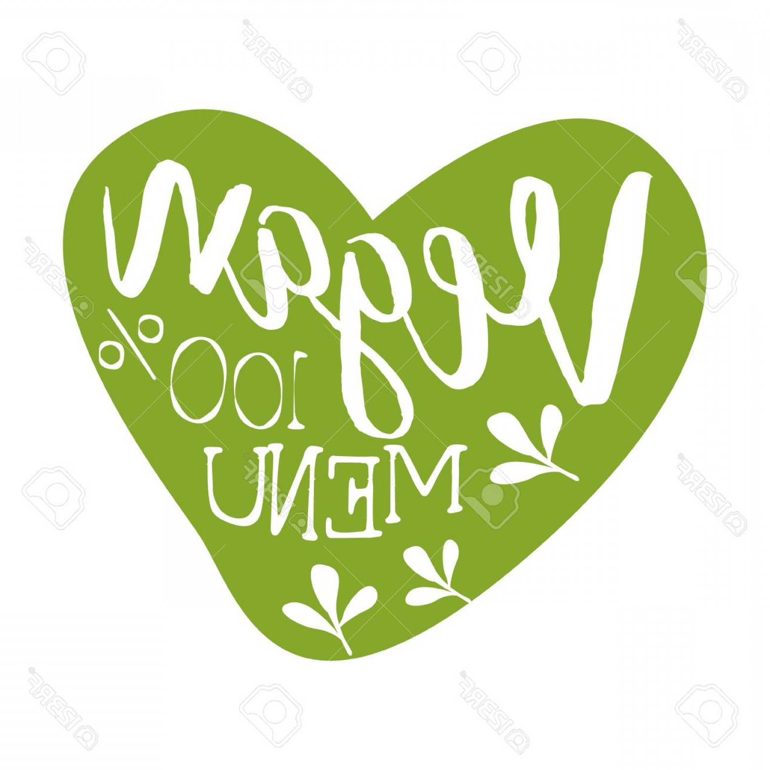 Vegan Heart Vectors: Photostock Vector Vegan Menu Green Label In The Shape Of A Heart Vector Illustration
