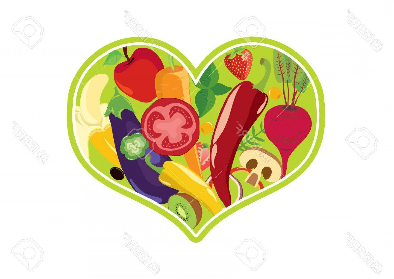 Vegan Heart Vectors: Photostock Vector Vegetable Heart Vector Fruit And Vegetable Icon Vegan Heart On White Background