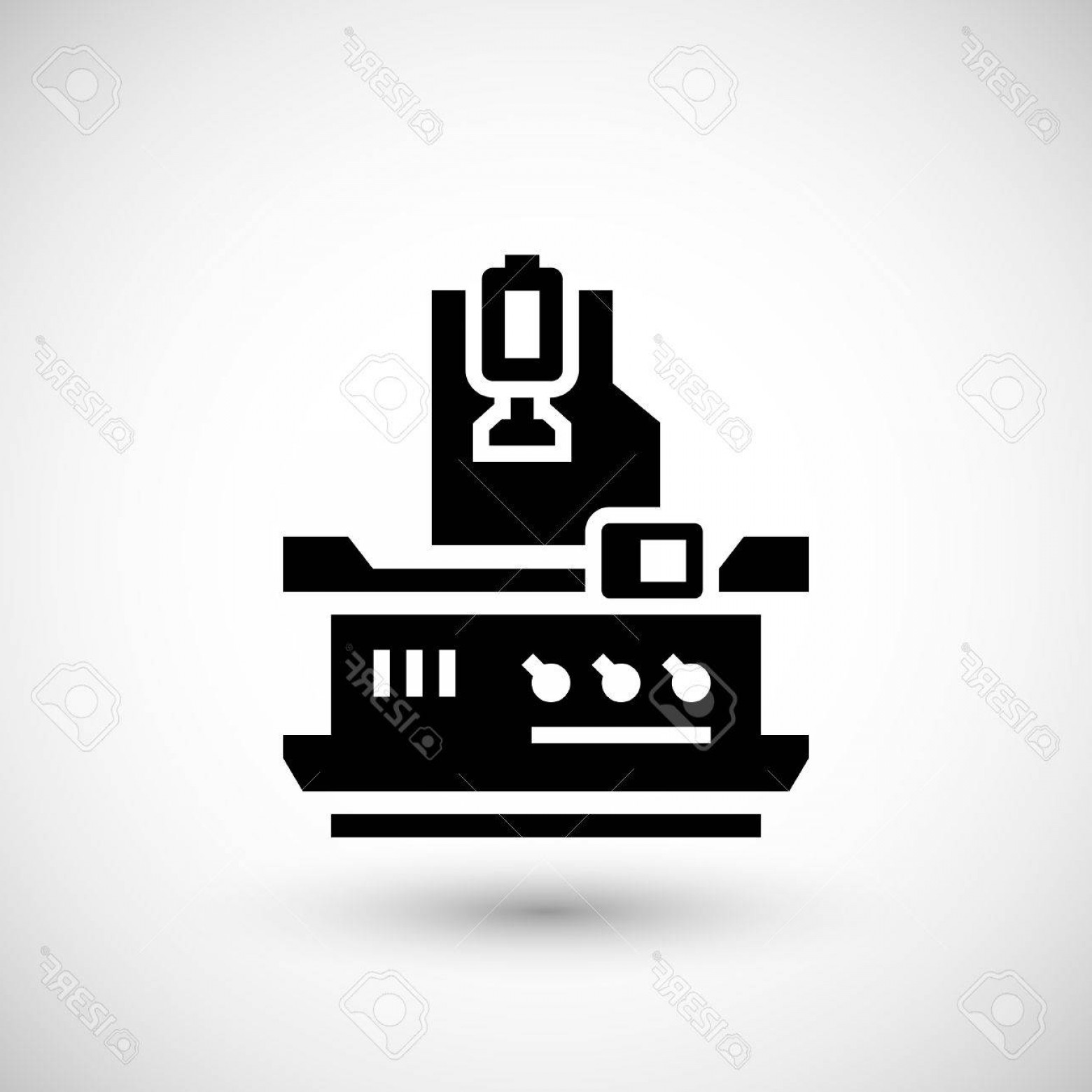 Hand Lathe Vector: Photostock Vector Vertical Milling Machine Icon Isolated On Grey Vector Illustration