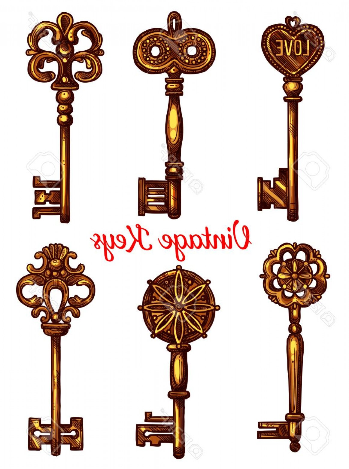 Old Key Vector: Photostock Vector Vintage And Old Keys Vector Icons Sketch Set Of Metal Brass Or Bronze Lock Key Symbols With Antique