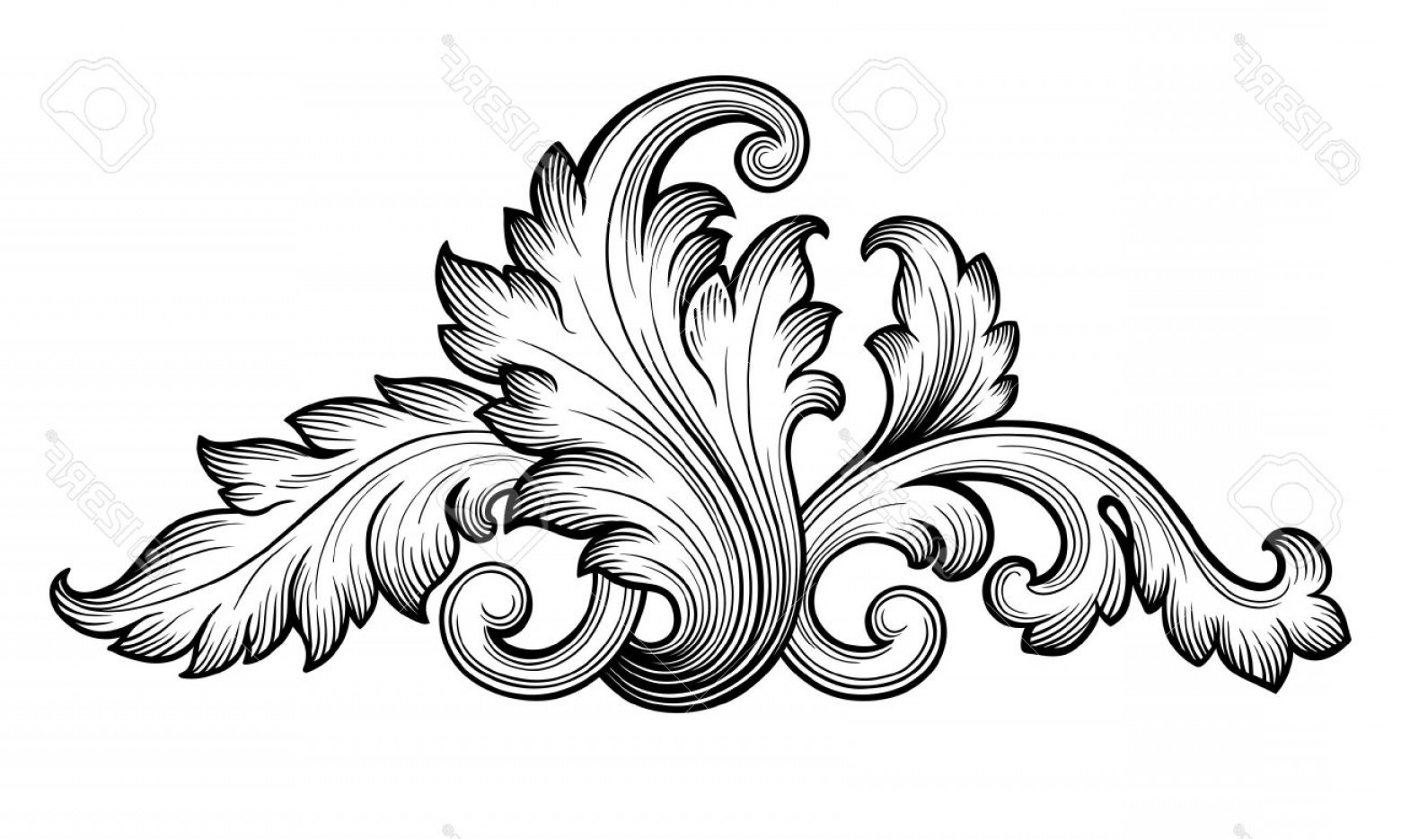 Baroque Vector Clip Art: Photostock Vector Vintage Baroque Floral Scroll Foliage Ornament Filigree Engraving Retro Style Design Element Vector