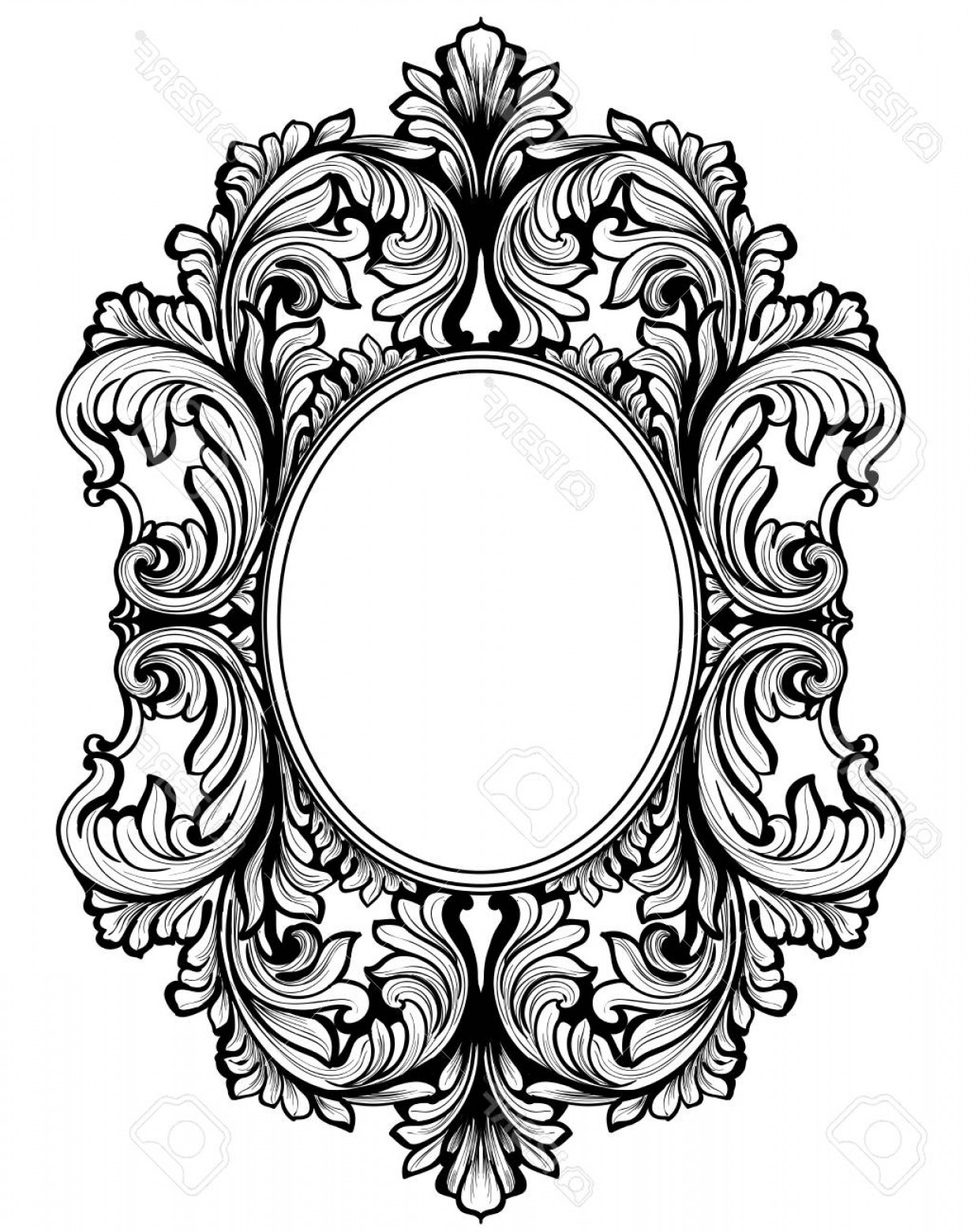 Baroque Vector Clip Art: Photostock Vector Vintage Baroque Frame Decor Detailed Ornament Vector Illustration Graphic Line Art
