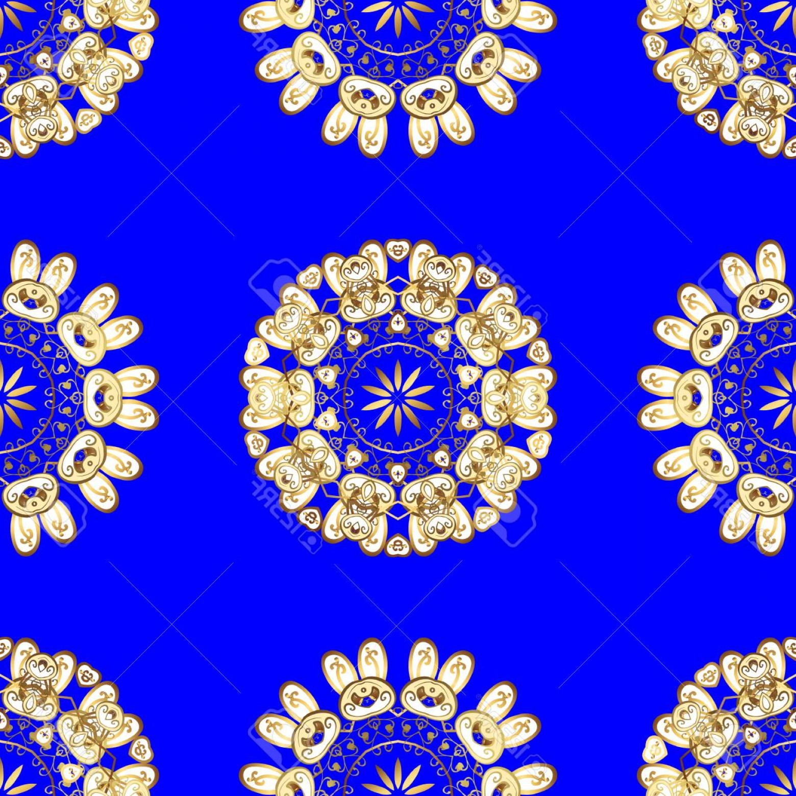 Gold And Blue Flower Vector: Photostock Vector Vintage Blue Seamless Pattern With Gradient Golden Flowers Vector