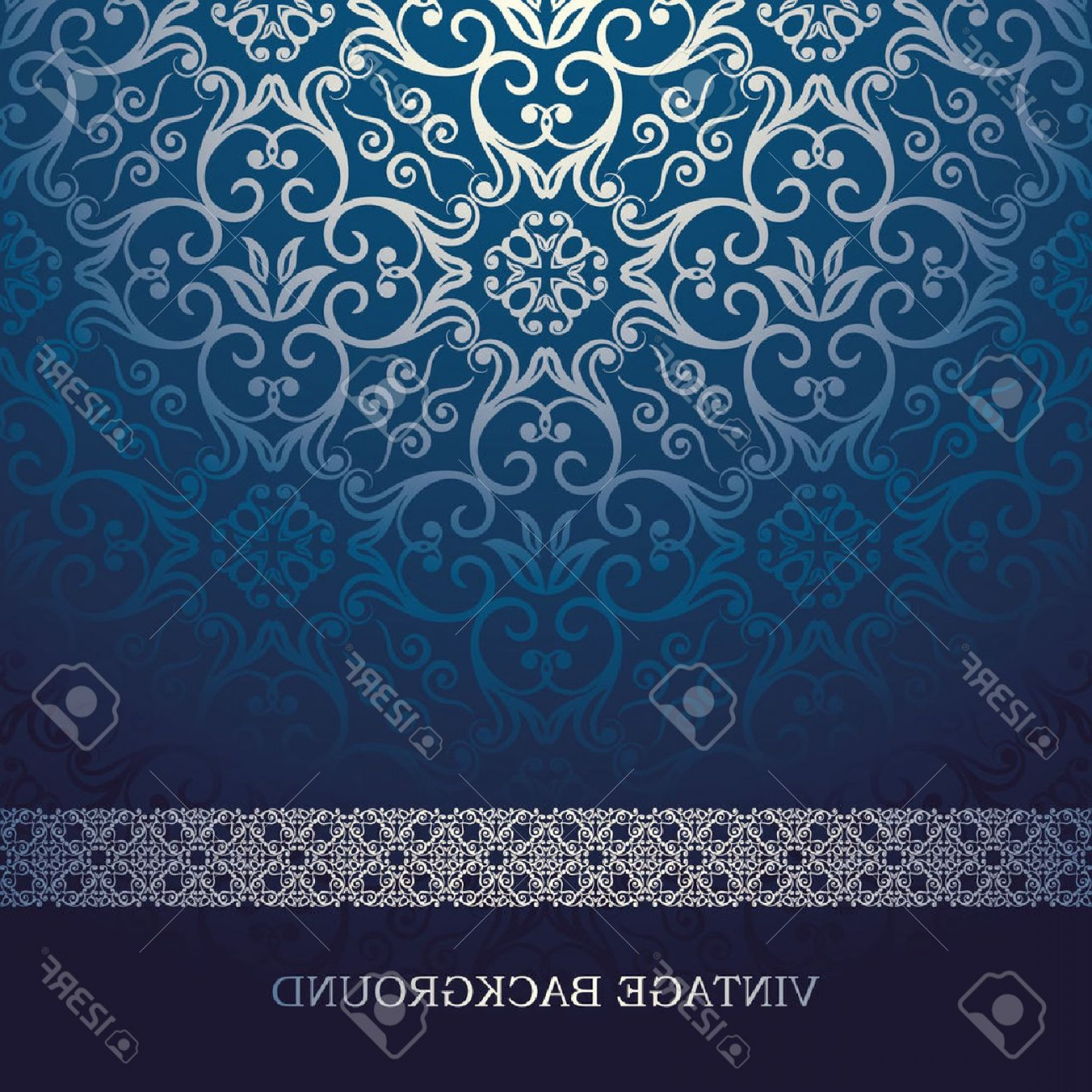 Vector Blue Luxury: Photostock Vector Vintage Card With Damask Background Luxury Blue Design