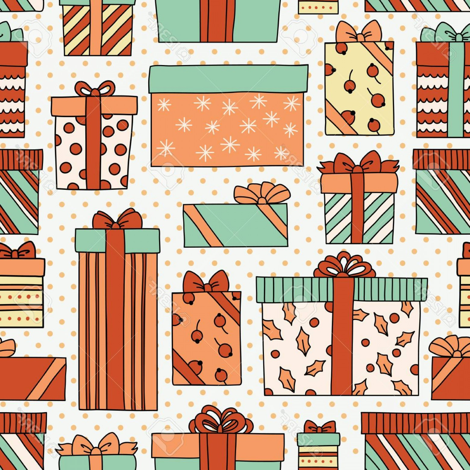 Free Vintage Vector Desktop Wallpaper: Photostock Vector Vintage Christmas Or Birthday Seamless Pattern With Gift Boxes Can Be Used For Desktop Wallpaper Or