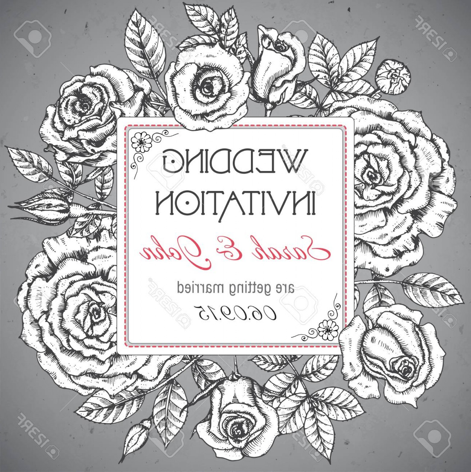 Elegant Wedding Vector Graphics: Photostock Vector Vintage Elegant Wedding Invitation Or Card Save The Date With Graphic Roses And Leaves Vector Illust