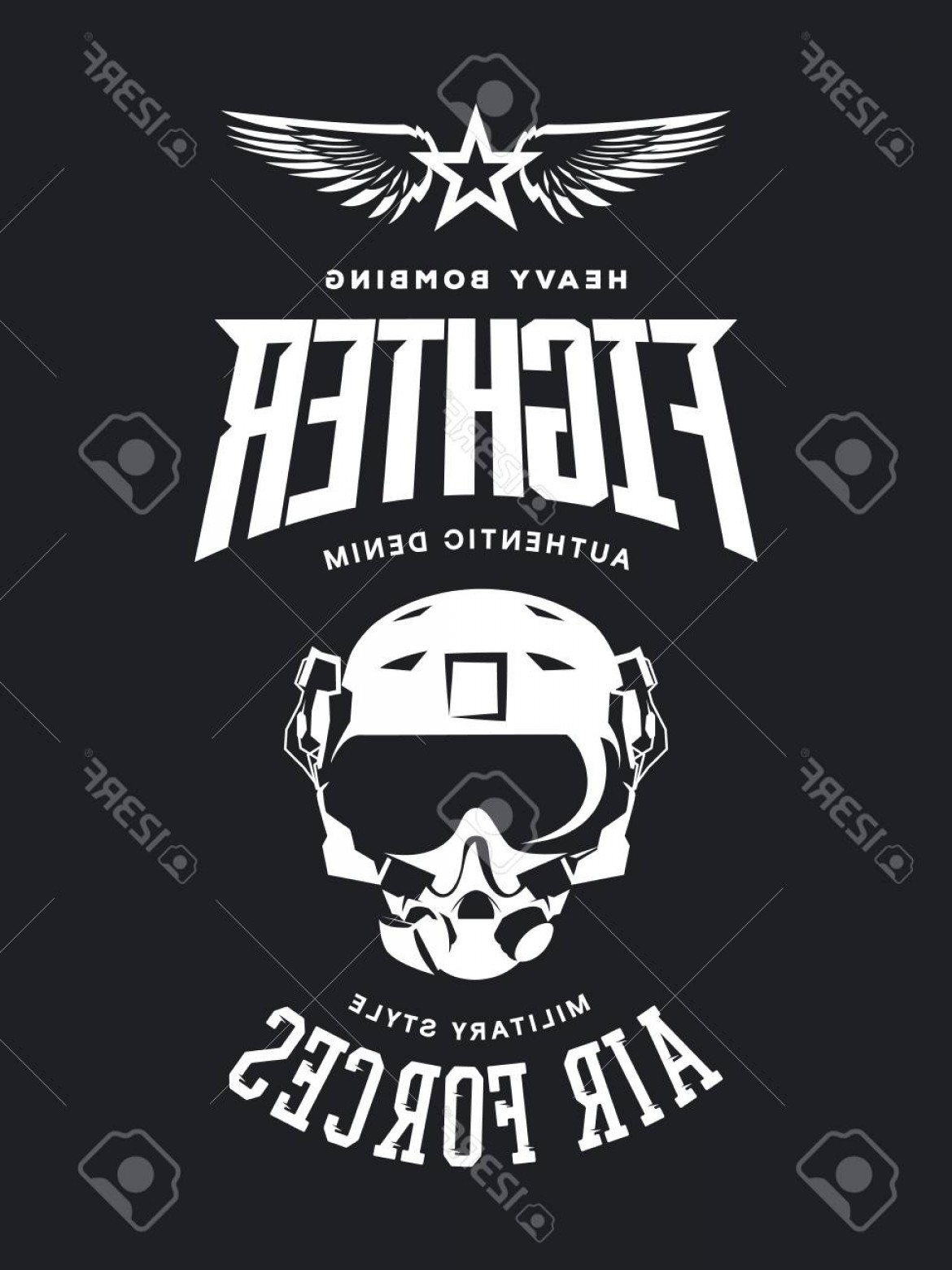 Fighter Helmet Vectors: Photostock Vector Vintage Fighter Pilot Helmet Vector Logo Isolated On Dark Background