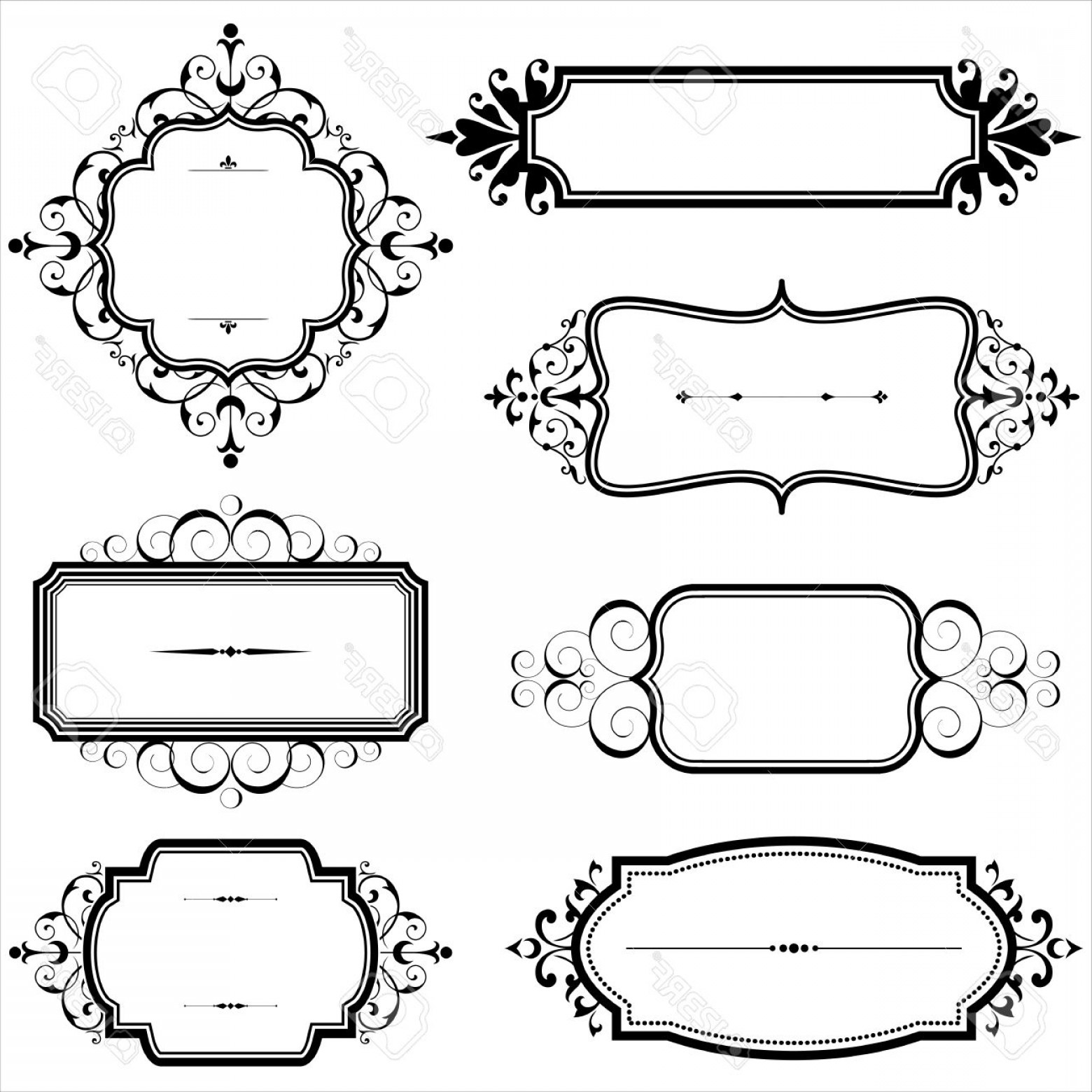 Vector Ornate Vintage Frame Blank: Photostock Vector Vintage Frames With Scrolls Set Of Vintage Frames With Scroll Elements Each Element Is Grouped Indiv