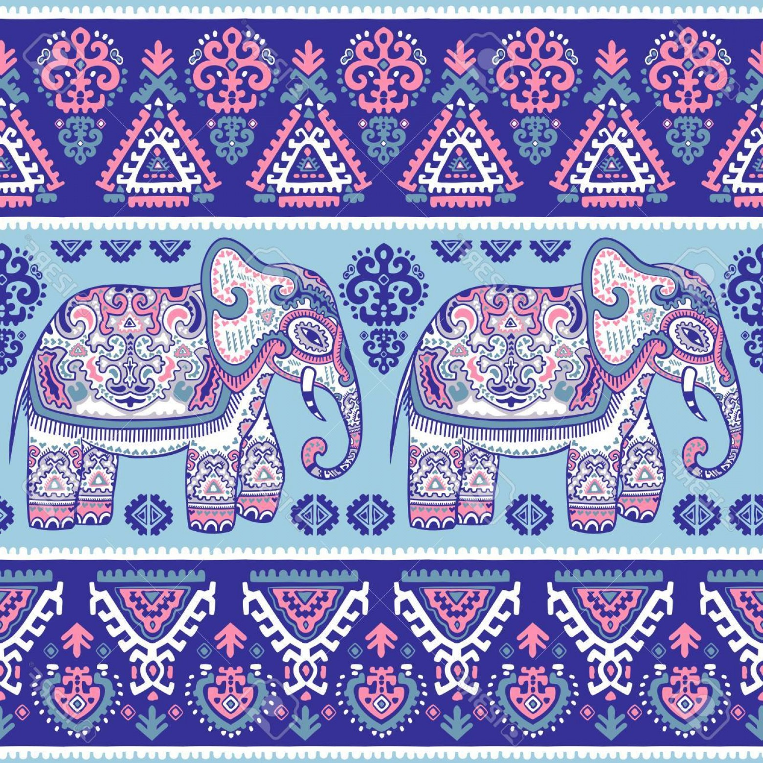 Vector Art Indian Lotus: Photostock Vector Vintage Graphic Vector Indian Lotus Ethnic Elephant African Tribal Ornament Can Be Used For A Colori