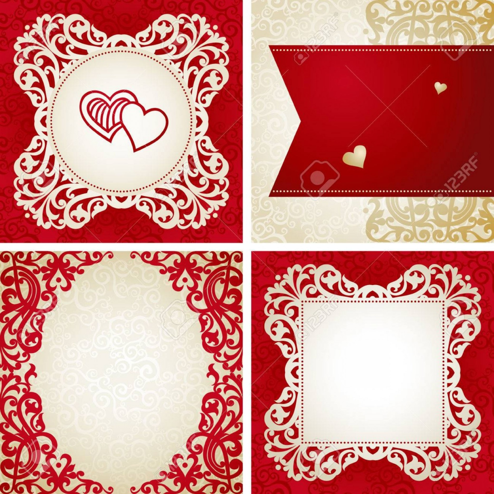 Victorian Motif Vector: Photostock Vector Vintage Greeting Cards With Swirls And Floral Motifs In Victorian Style Template Frame Design For Re