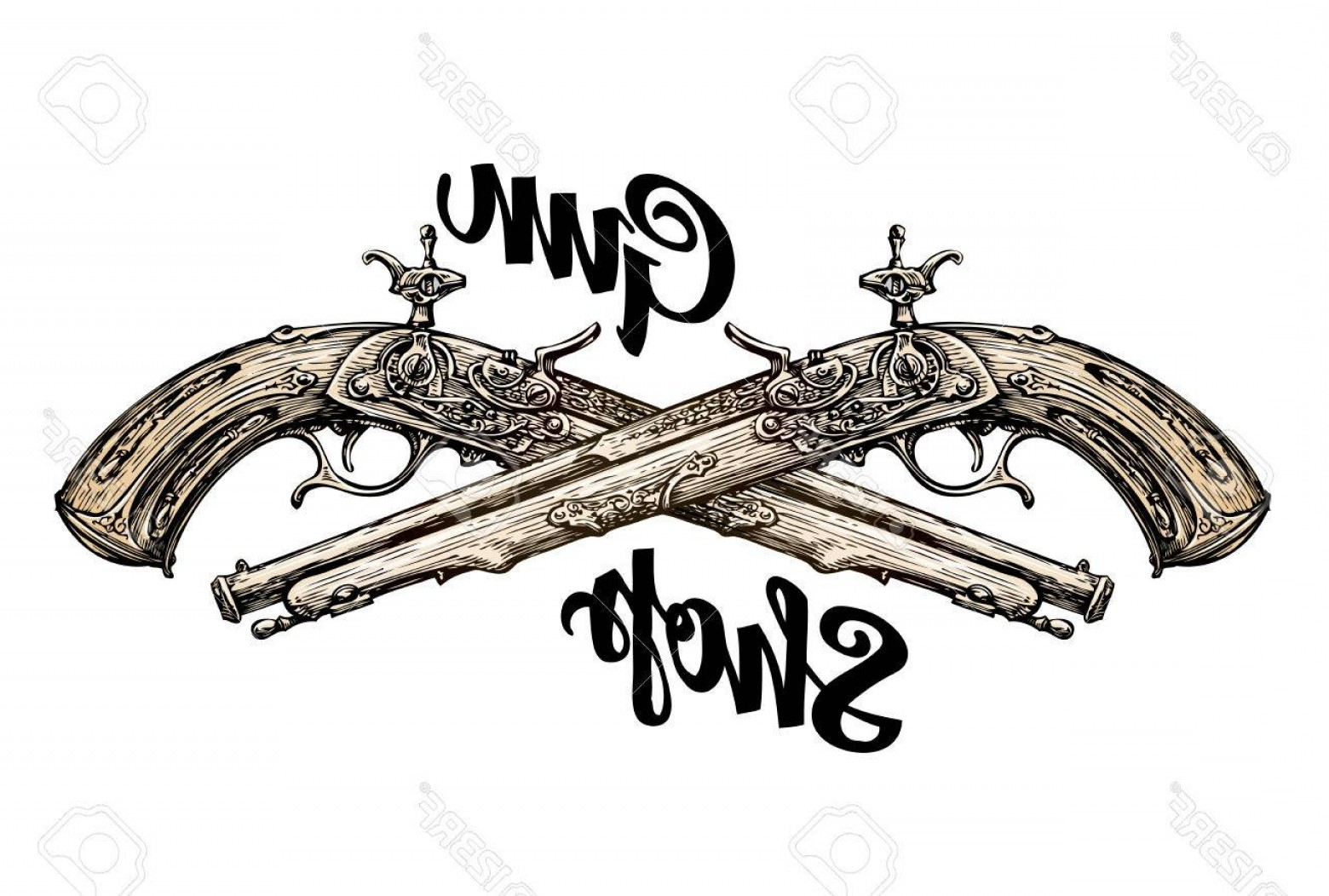 Vintage Crossed Pistols Vector: Photostock Vector Vintage Gun Crossed Pistols Hand Drawn Sketch Old Musket Vector Illustration
