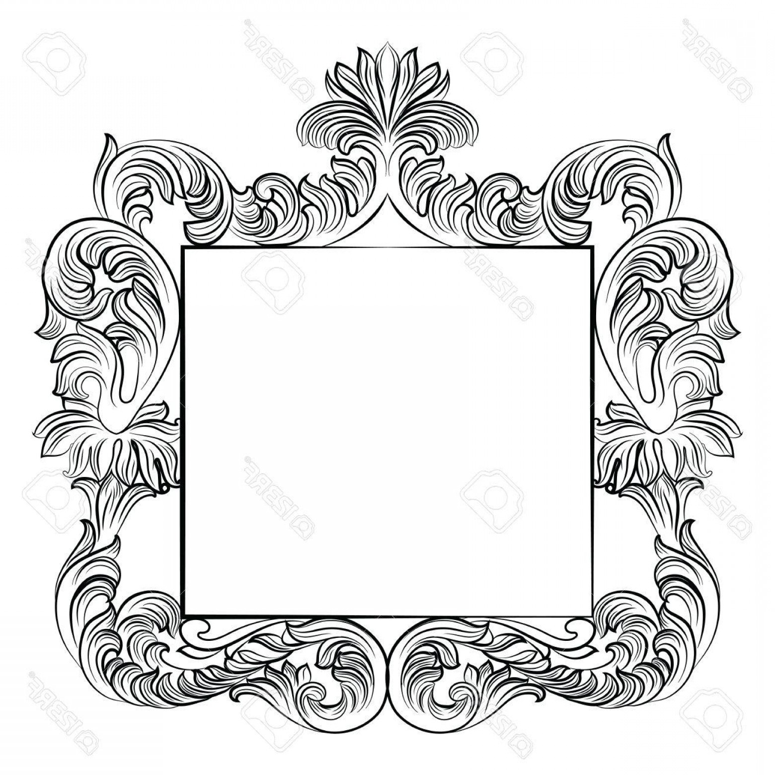 Rococo Frame Vector: Photostock Vector Vintage Imperial Baroque Rococo Frame Vector French Luxury Rich Carved Ornamented Decor Victorian We
