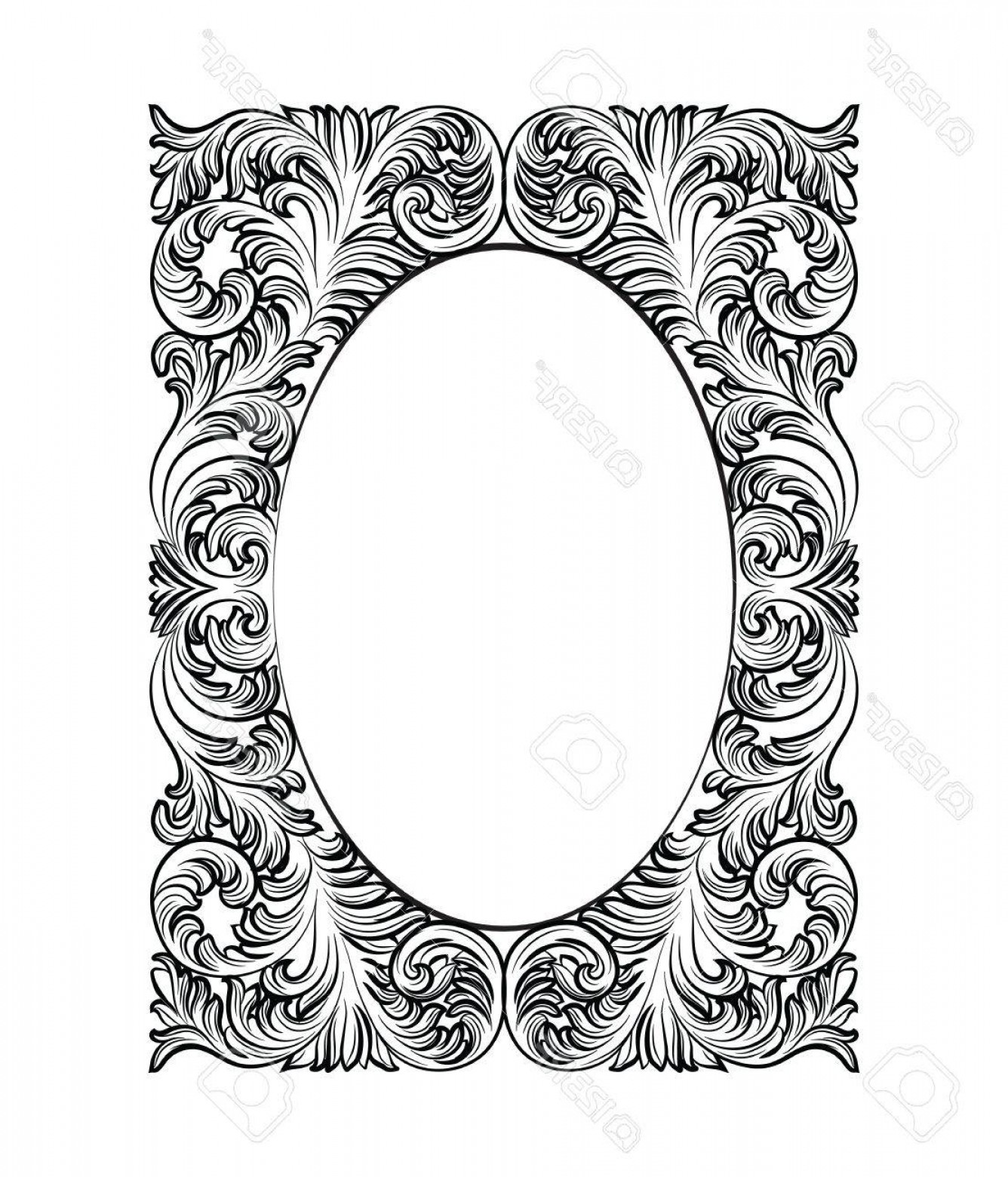 Rococo Frame Vector: Photostock Vector Vintage Imperial Baroque Rococo Frame Vector French Luxury Rich Carved Ornamented Wall Frame Victori