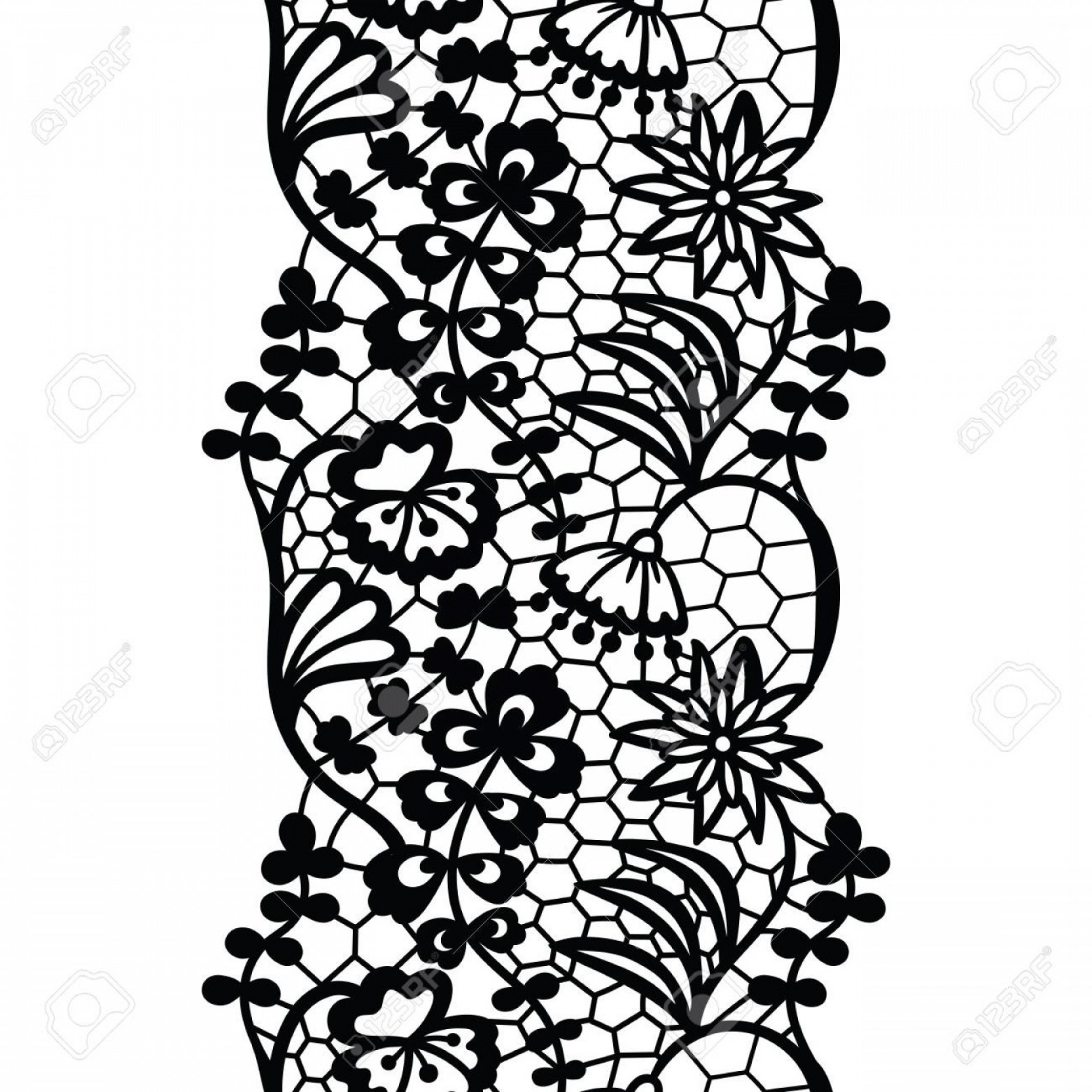Floral Lace Trim Vector: Photostock Vector Vintage Lack Lace Trim With Scalloped Edges And Floral Pattern