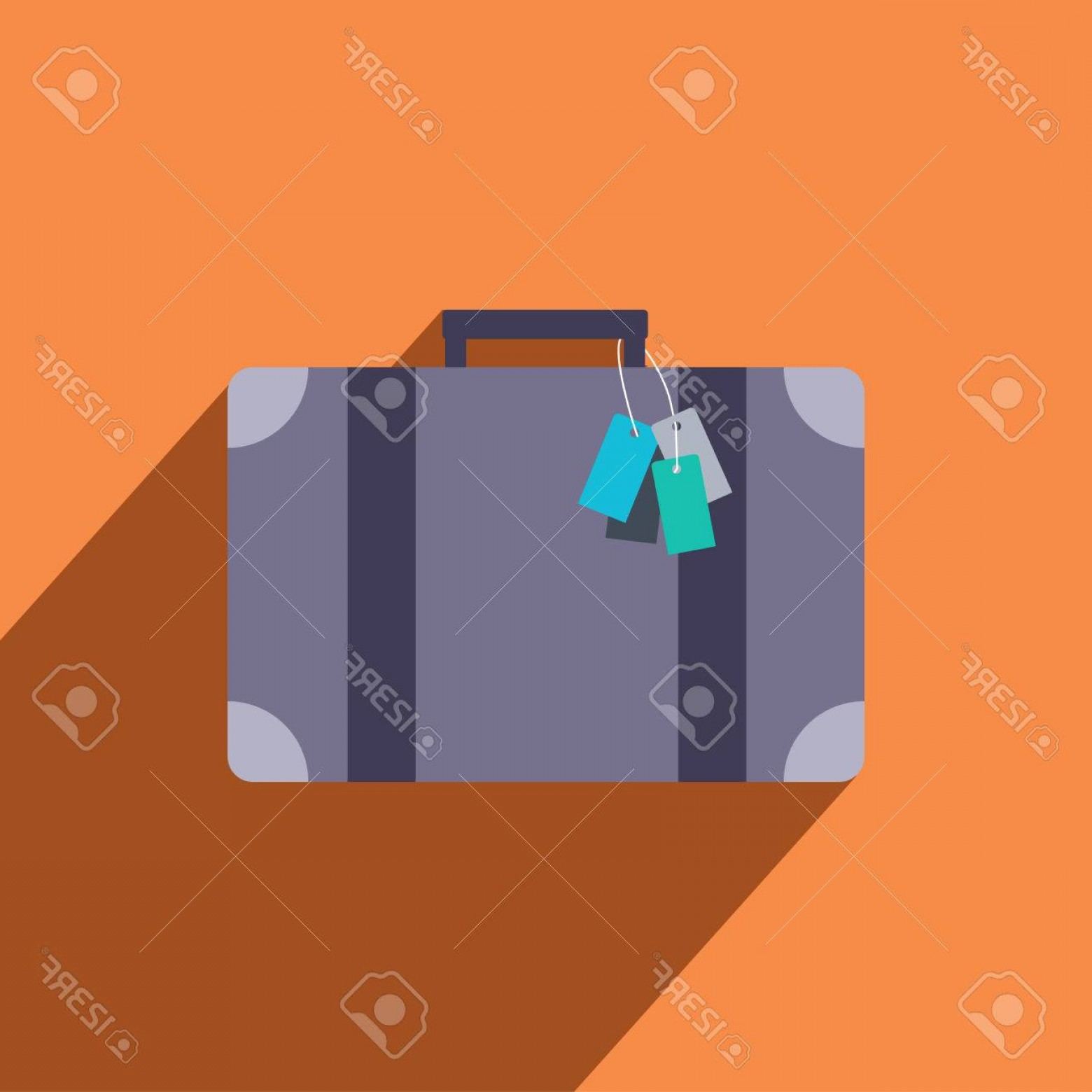 Vintage Luggage Vector: Photostock Vector Vintage Luggage Vector Icon In Flat Design With Long Shadows