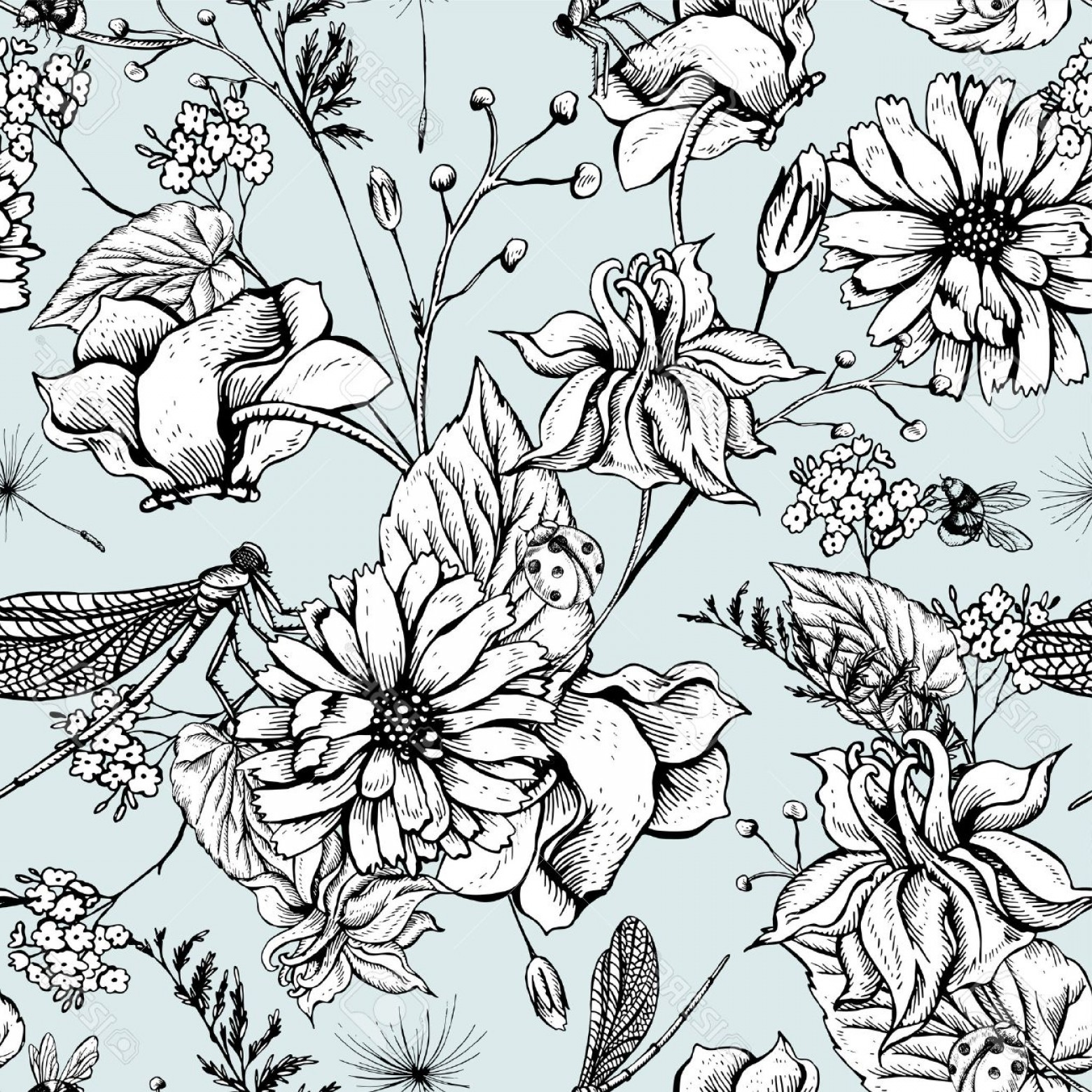 Botanical Flower Vectors: Photostock Vector Vintage Monochrome Garden Flowers Vector Seamless Pattern Botanical Shabby Chic Illustration Wild Fl