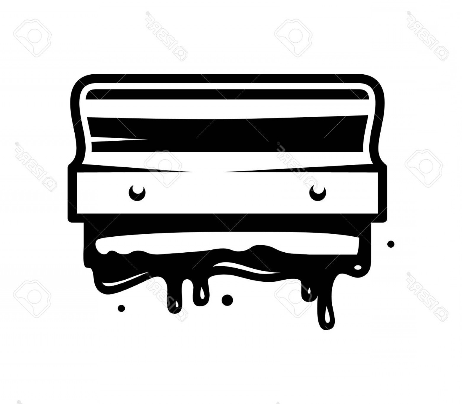 Screen Printing Equipment Vector: Photostock Vector Vintage Monochrome Screen Printing Queegee Template With Paint Splashes Isolated Vector Illustration