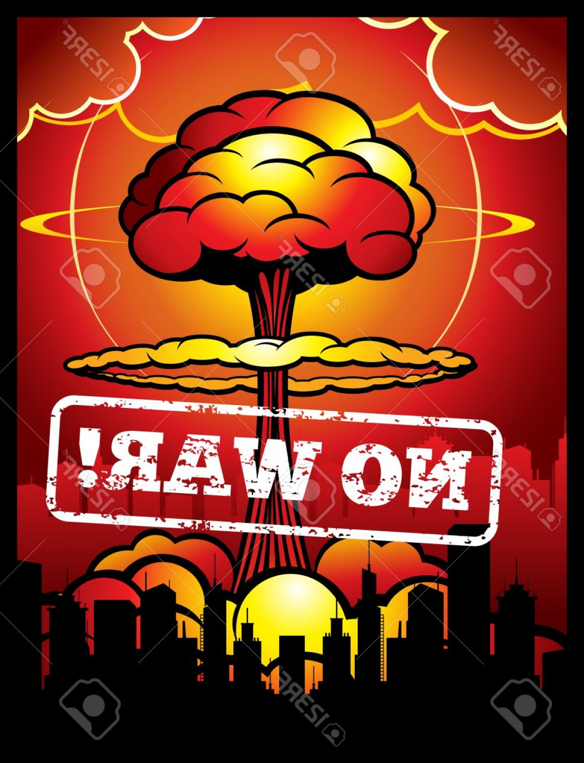 Atomic Bomb Explosion Vector: Photostock Vector Vintage No War Vector Poster With Explosion Of Atomic Bomb And Nuclear Mushroom World Armageddon Bac