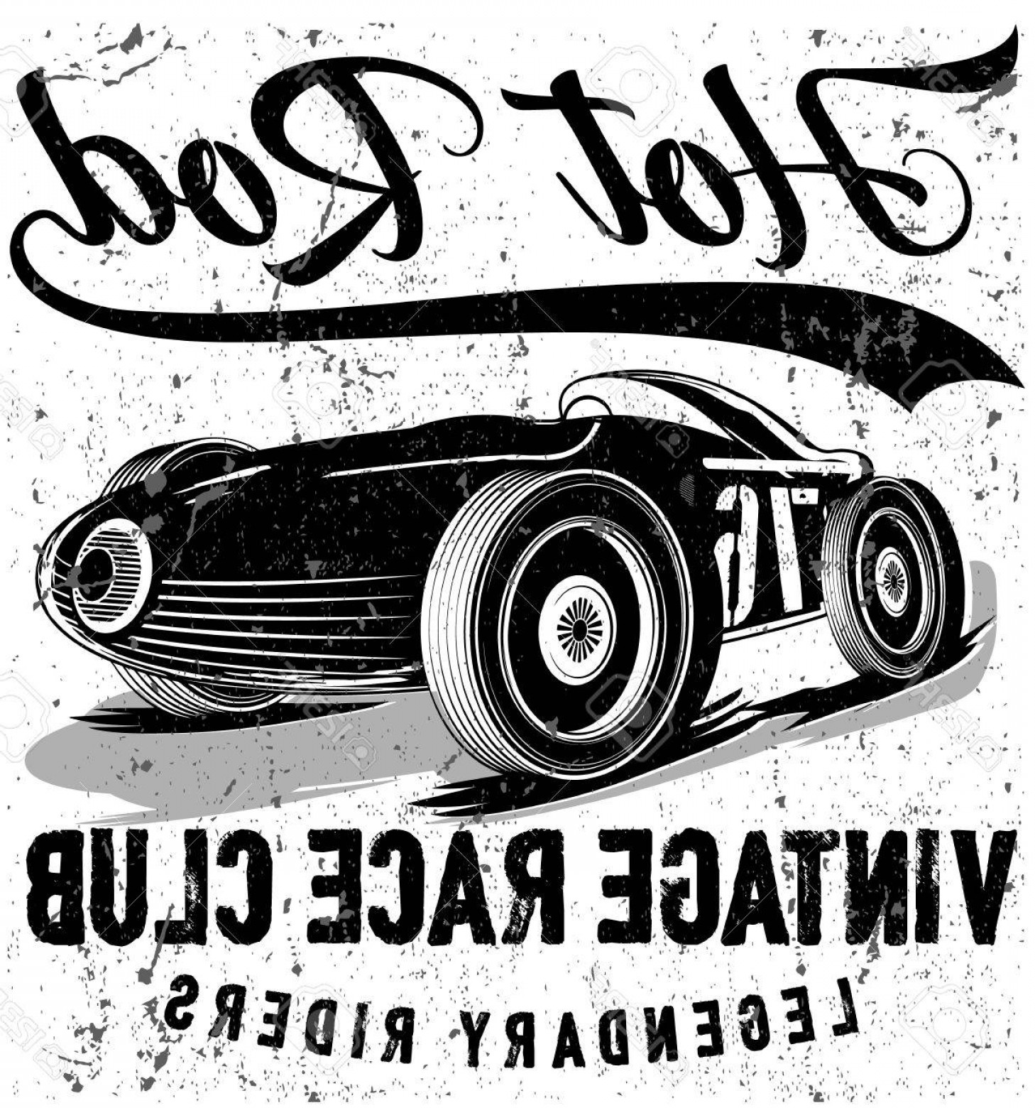 Old School Car Vector: Photostock Vector Vintage Race Car For Printing Vector Old School Race Poster Retro Race Car Set