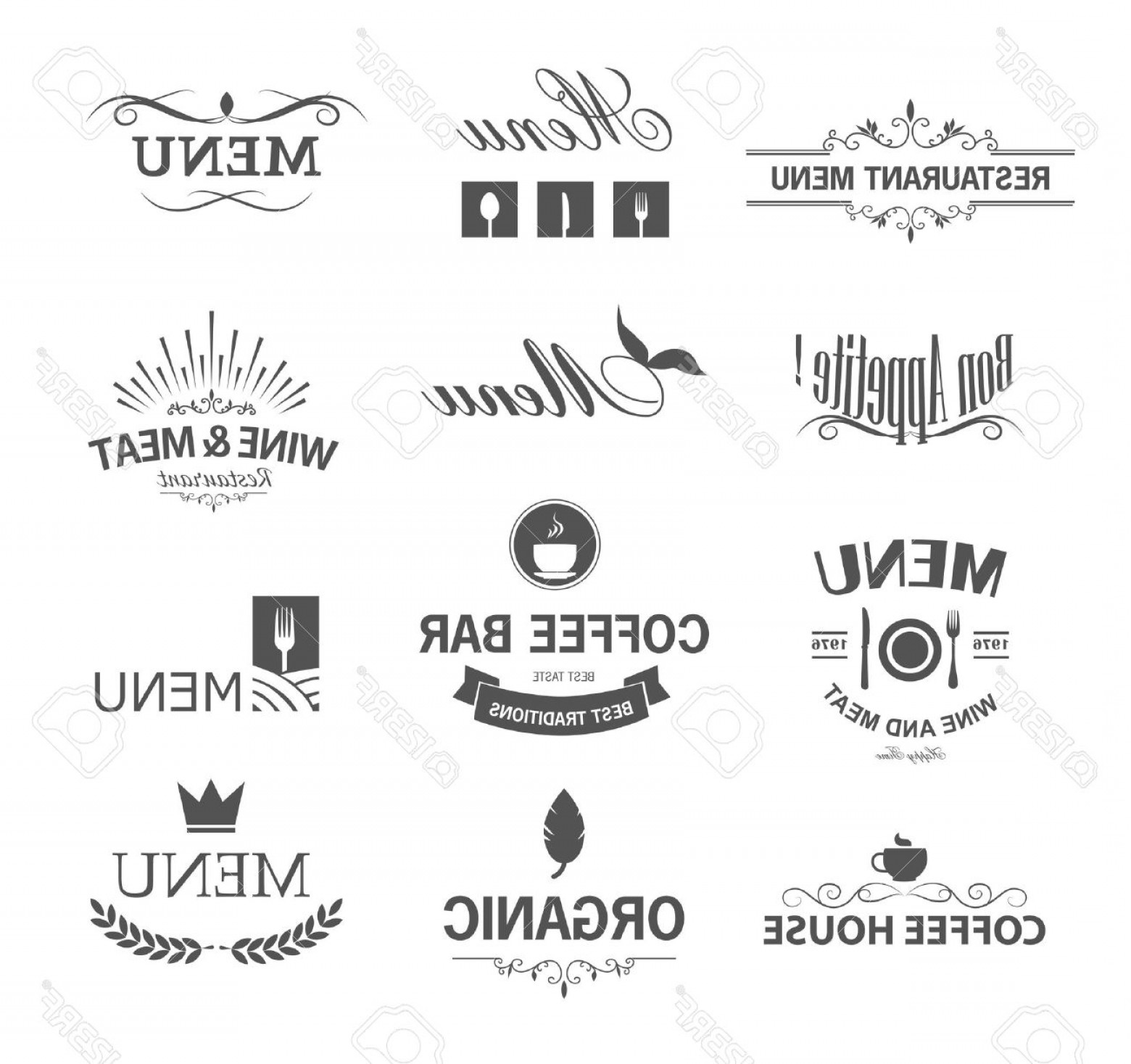 Logo Elements Vector: Photostock Vector Vintage Set Of Restaurant Signs Symbols Logo Elements And Icons Calligraphy Decorations Collection F