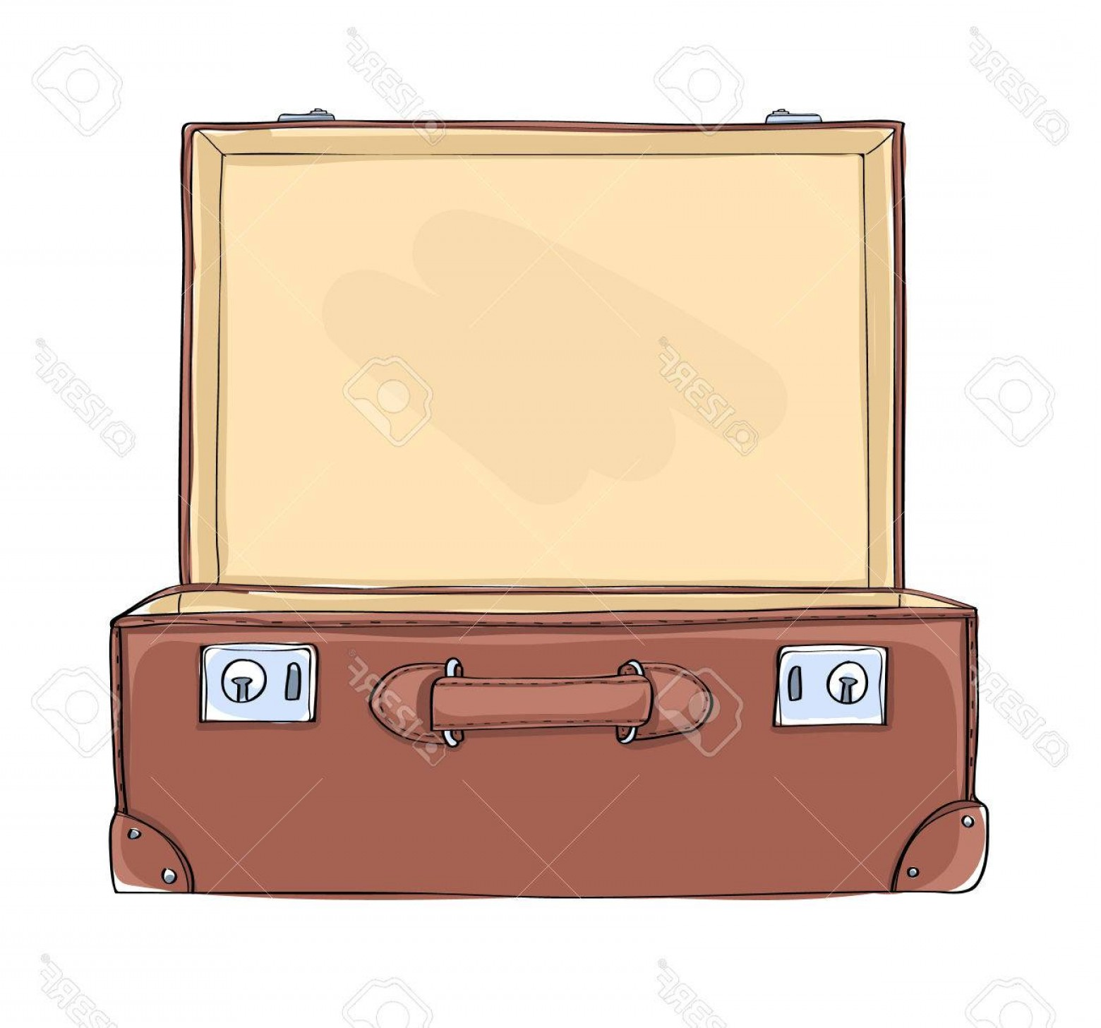 Vintage Luggage Vector: Photostock Vector Vintage Suitcase Lighting Inside Art Illustration