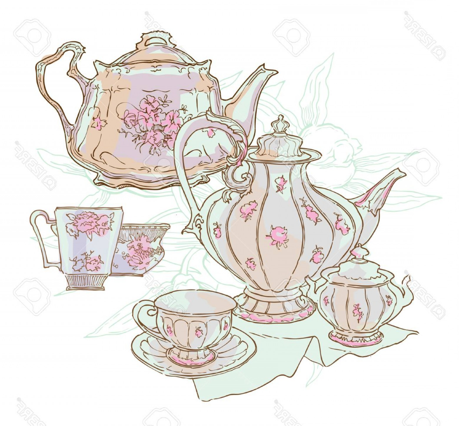 Vintage Tea Cup Vector: Photostock Vector Vintage Tea Set Service Vector Illustration Teapot And Cups Drawing Cosy Table Set Floral Illustrati