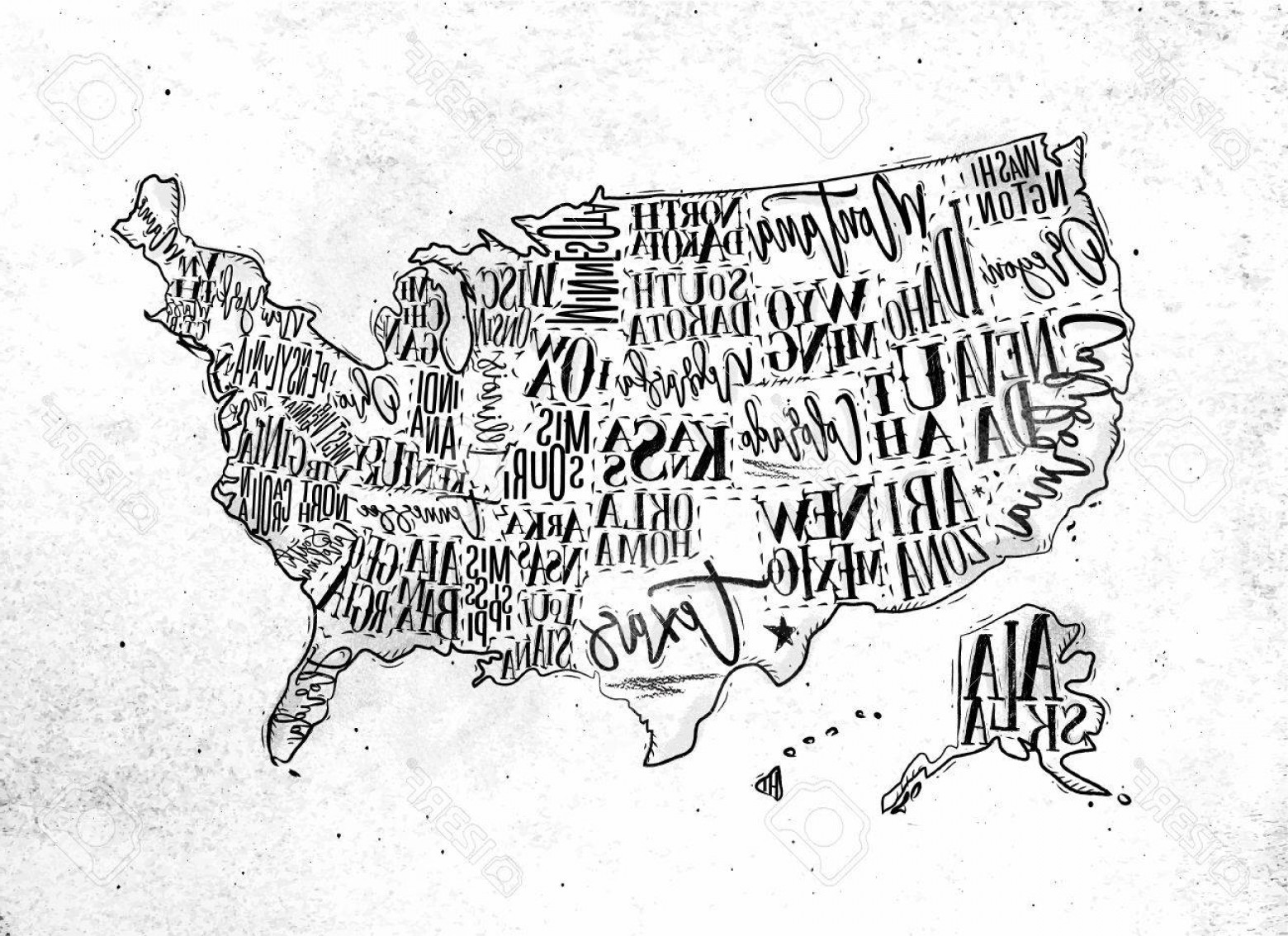 Texas Vector Drawing: Photostock Vector Vintage Usa Map With States Inscription California Florida Washington Texas New York Kansas Nevada T