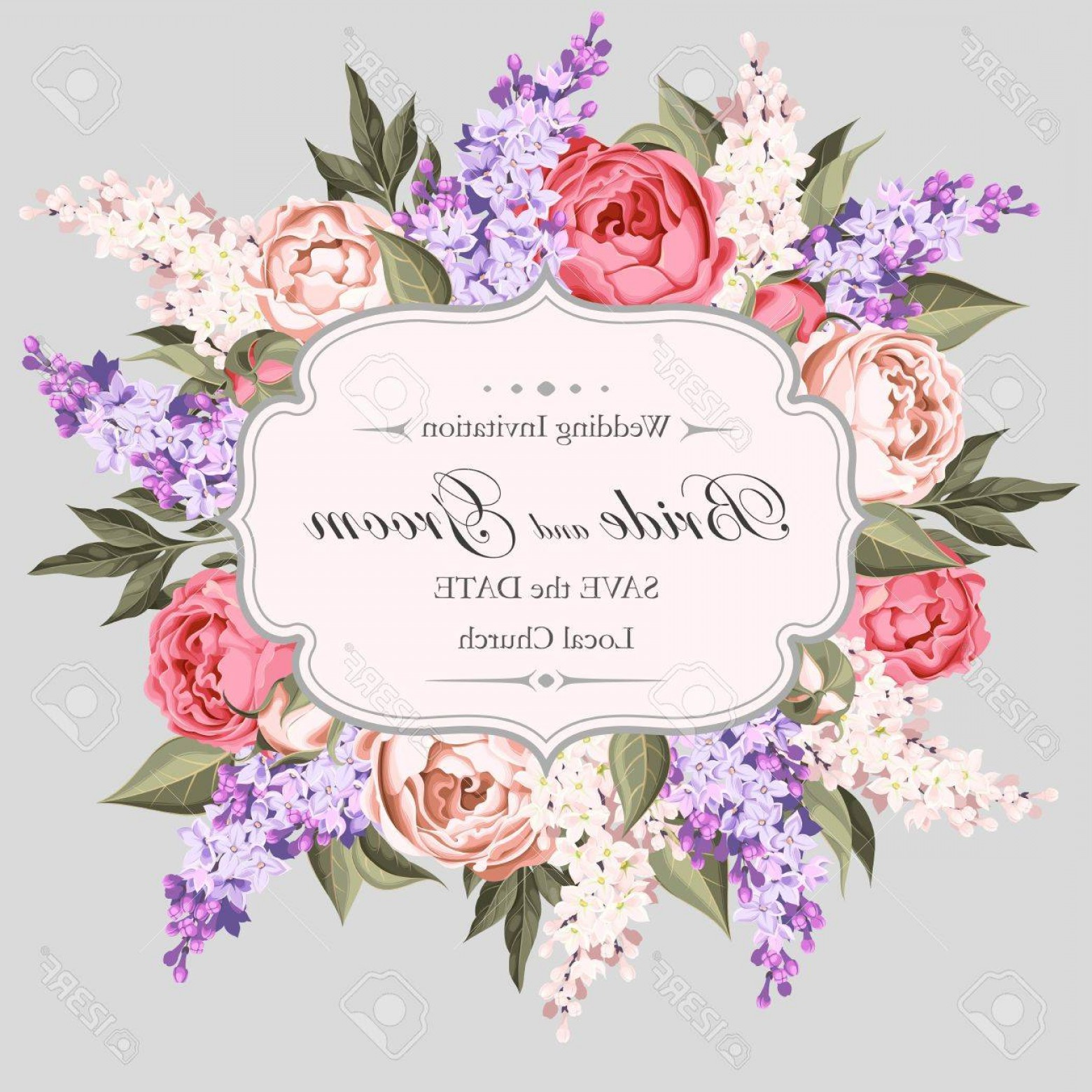 Lilac Wedding Vectors: Photostock Vector Vintage Wedding Invitation Decorated With Peony And Lilac