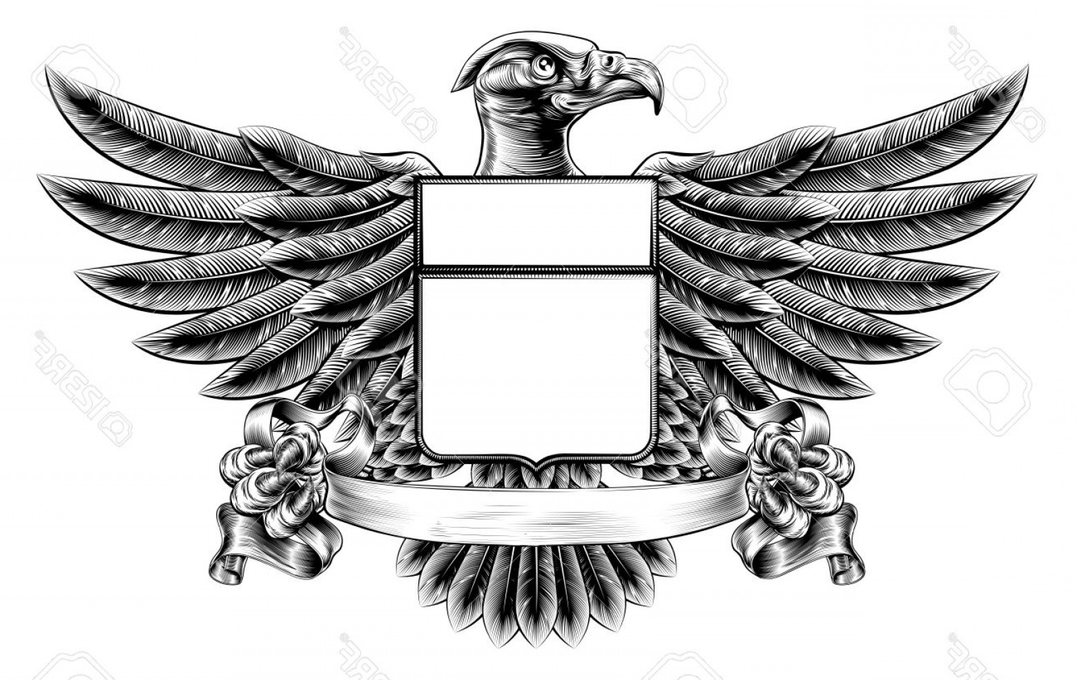 Eagle Banner Vector: Photostock Vector Vintage Woodcut Or Woodblock Style Wing Shield Eagle Insignia Motif Holding A Banner Scroll In His C