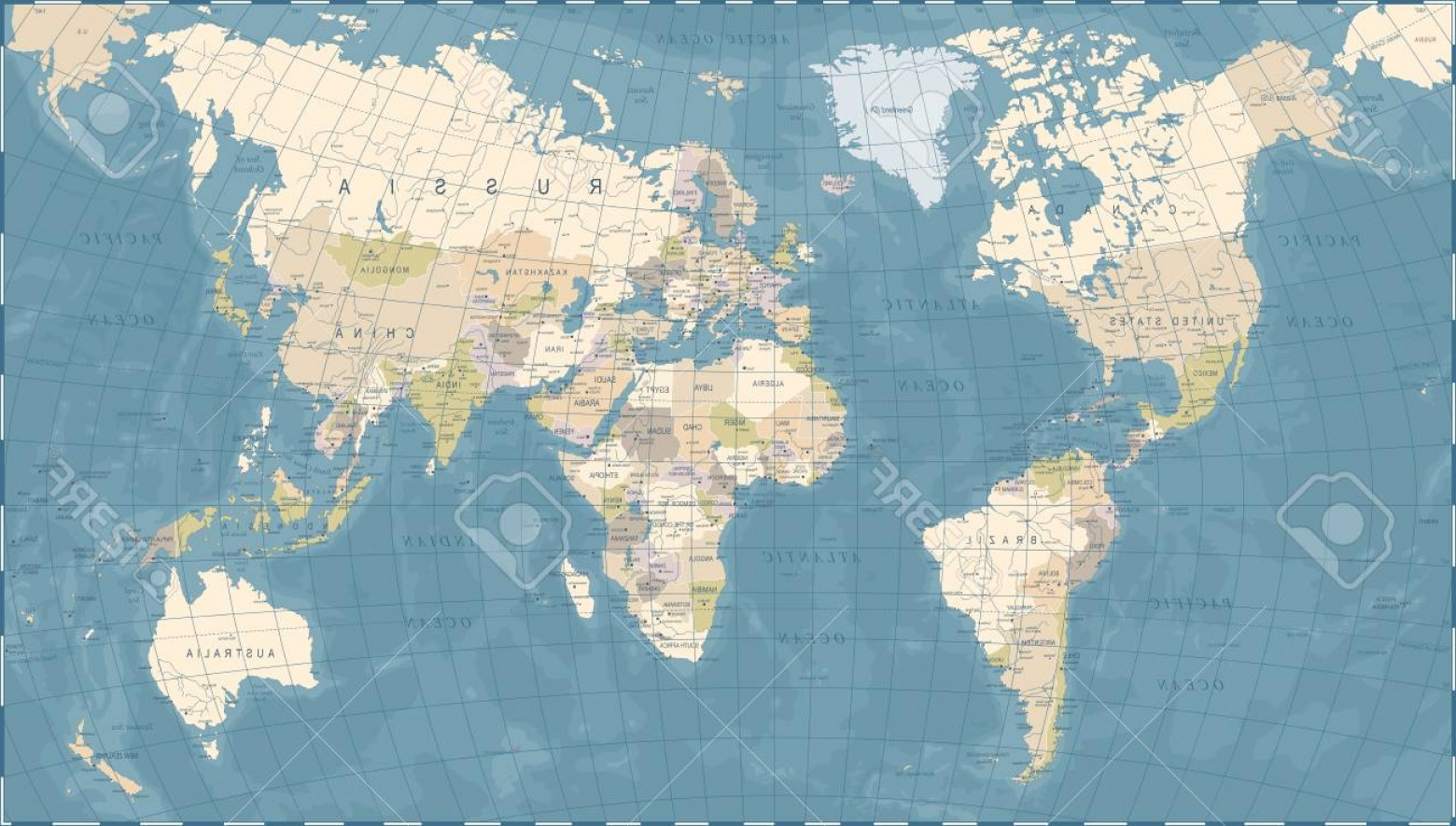 Vintage Map Clipart- Vector: Photostock Vector Vintage World Map Detailed Vector Illustration