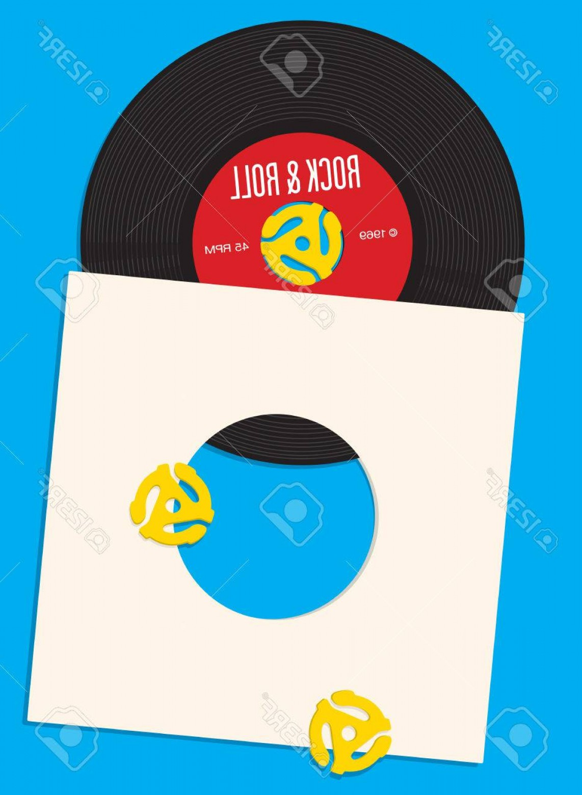 Vinyl Roll Vector: Photostock Vector Vinyl Record Design Template Design Featuring Illustration Of Rpm Single Record With Record Inser