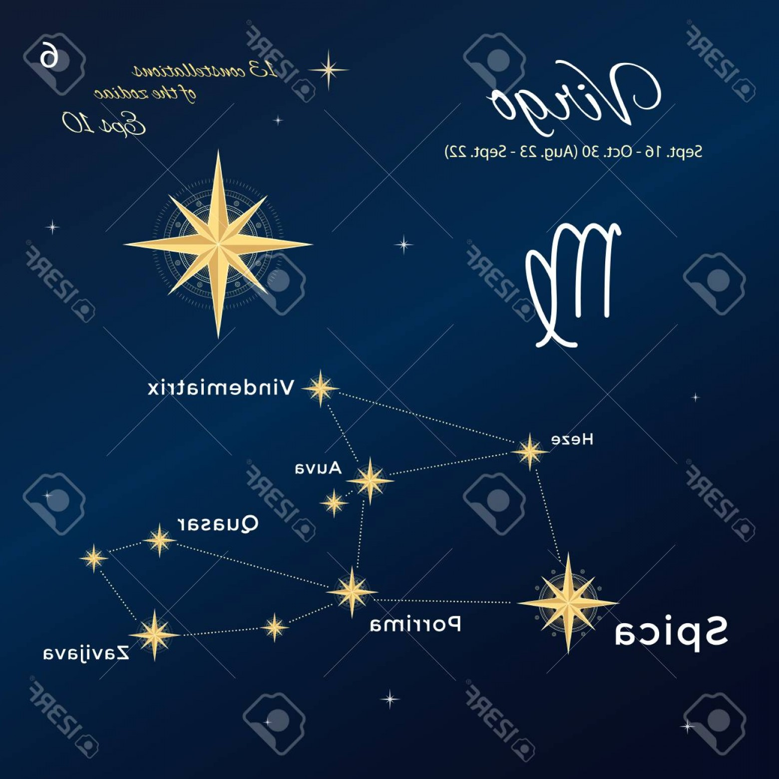 October Zodiac Constellation Vector: Photostock Vector Virgo High Detailed Vector Illustration Constellations Of The Zodiac With Titles And Proper Names