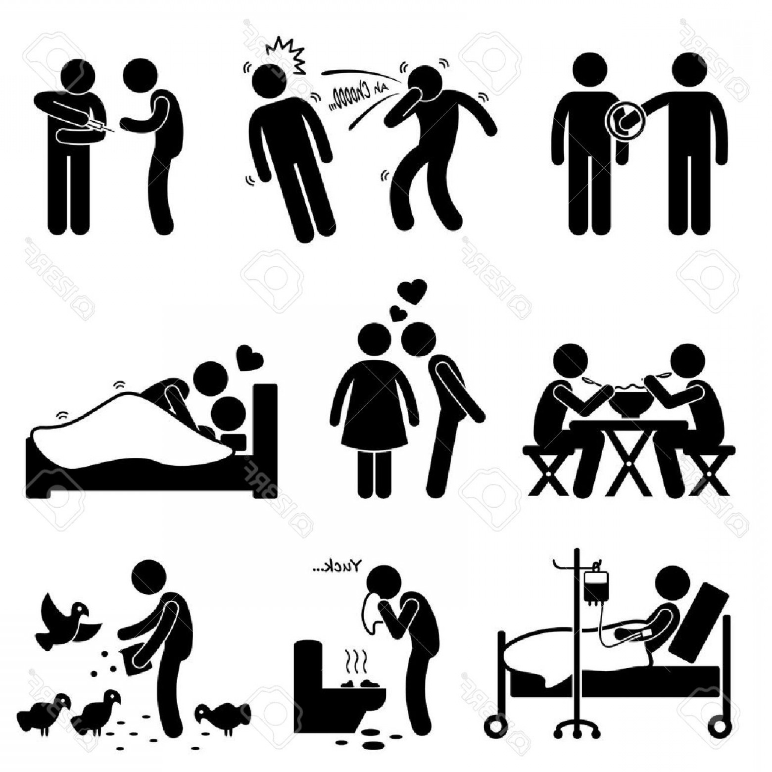 Diseases Spread By Vectors: Photostock Vector Virus Spread Diseases Transmission Infections Ways Stick Figure Pictogram Icons