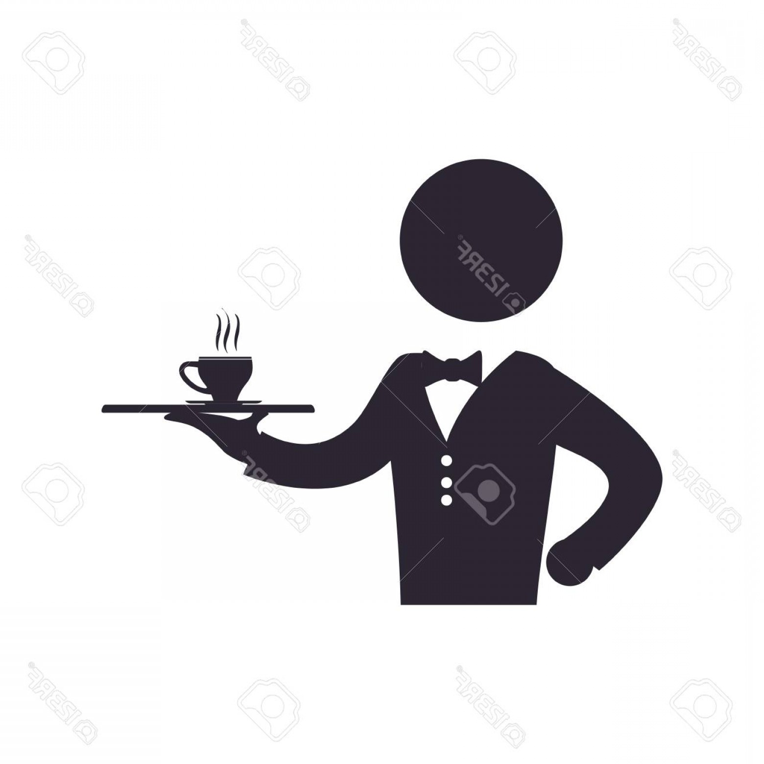 Vector Waiter Coffee: Photostock Vector Waiter Catering Coffee Cup Vector Icon Illustration