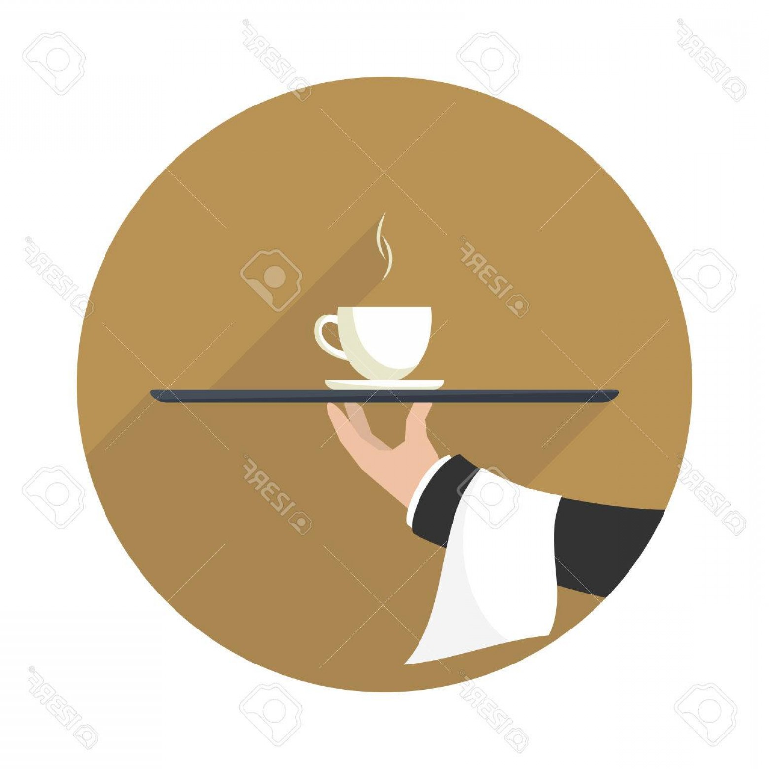 Vector Waiter Coffee: Photostock Vector Waiter With Cup Of Coffee And Tray On Outstretched Arm Icon With Long Shadow Simple Flat Vector