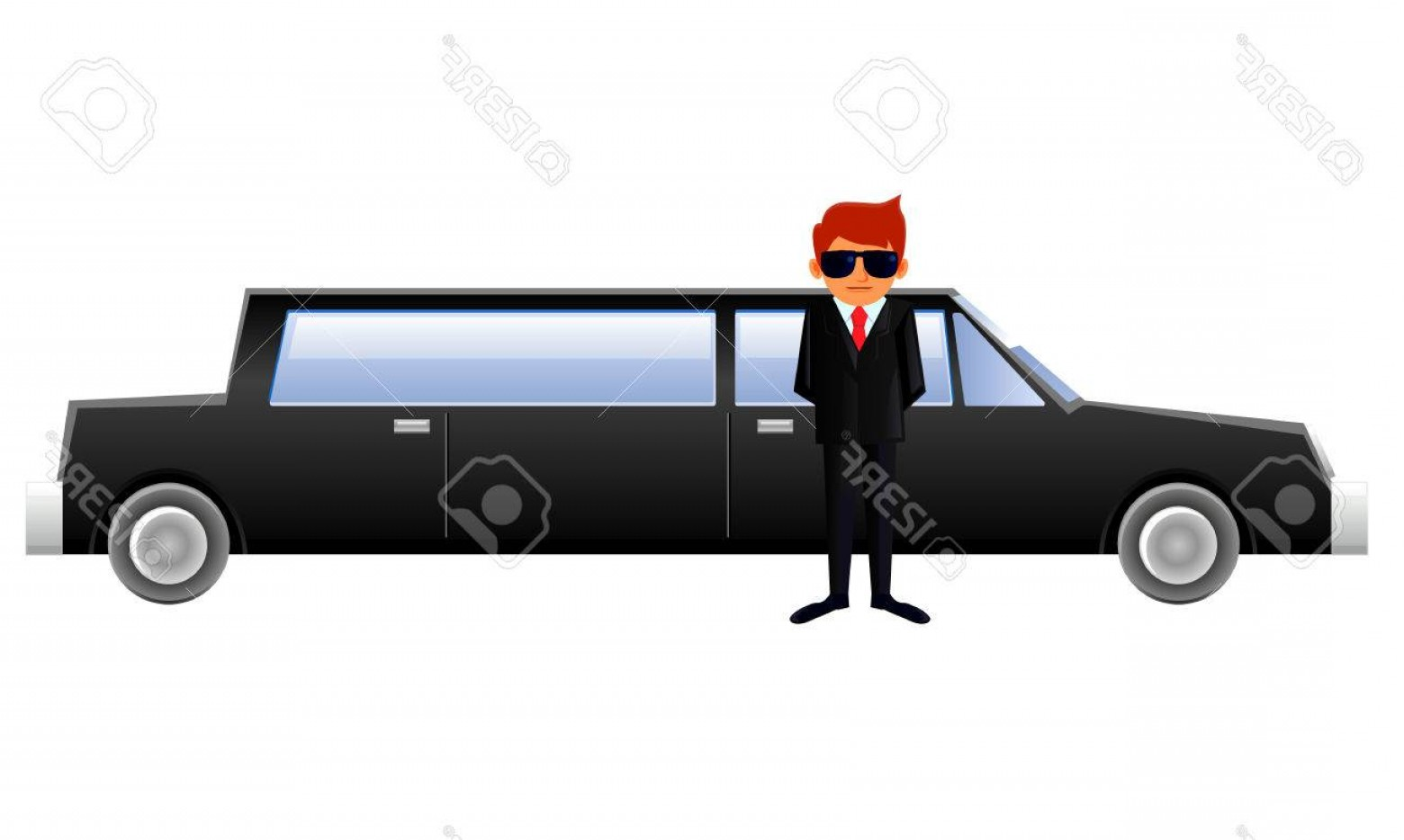 Chauffer Driver Cap Vector: Photostock Vector Waiting Driver At The Limousine Vehicle Vector