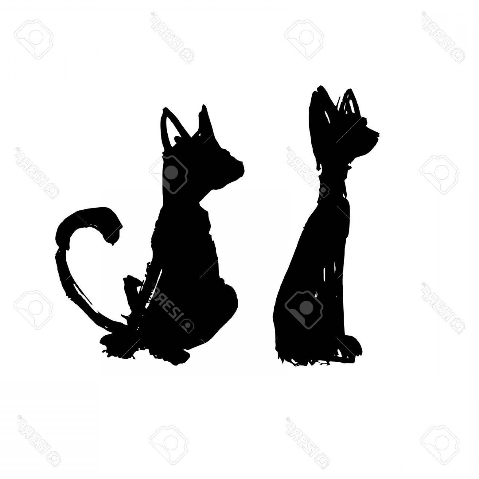 Vector Paw Decals: Photostock Vector Wall Stickers Funny Silhouettes Vector Pattern Interior Cat