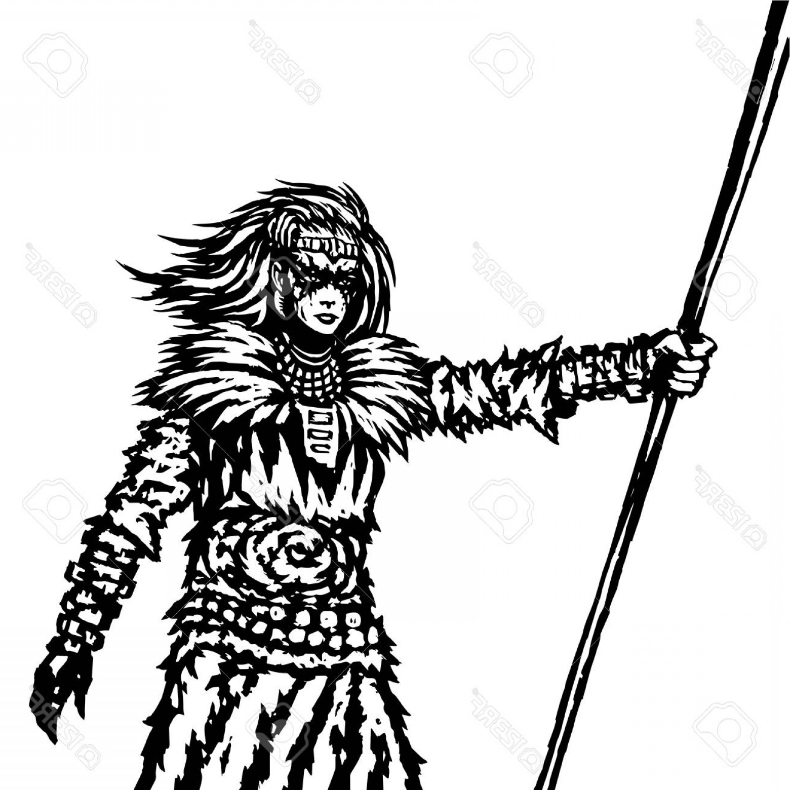 Pike Spear Vector: Photostock Vector Warrior Girl From A Wild Tribe With A Spear Vector Illustration Fantasy Artwork In Black And White C