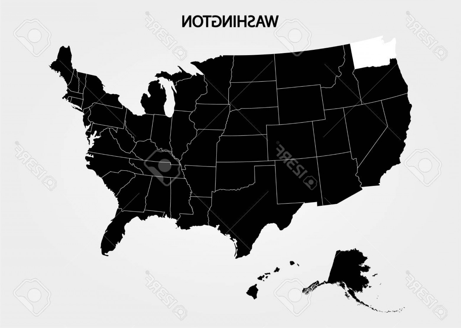 Washington State Vector: Photostock Vector Washington State States Of America Territory On Gray Background Separate State Vector Illustration