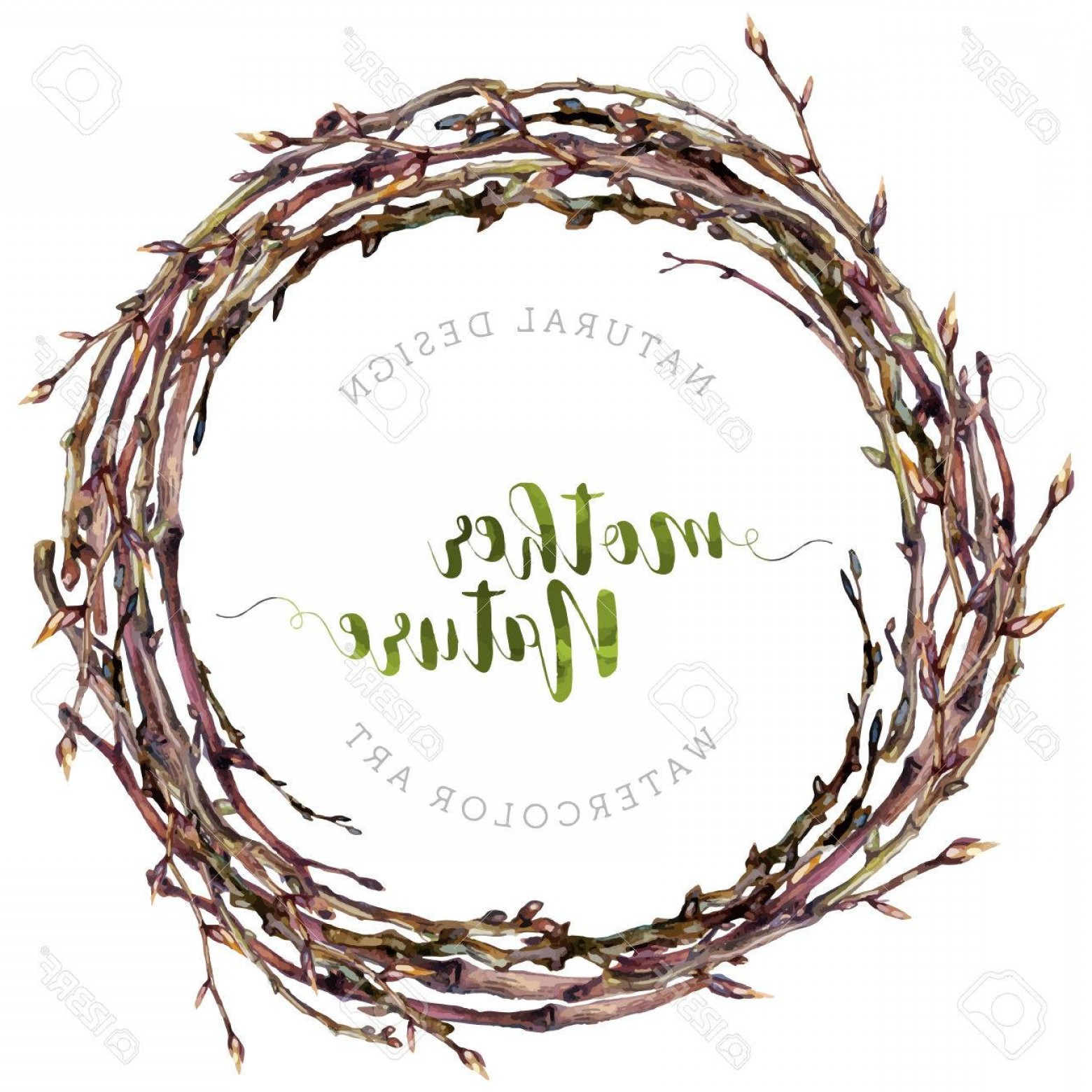 Vector Natural Willow: Photostock Vector Watercolor Boho Wreath Made Of Dry Twigs And Bare Osier Branches Isolated On White Natural Decoratio