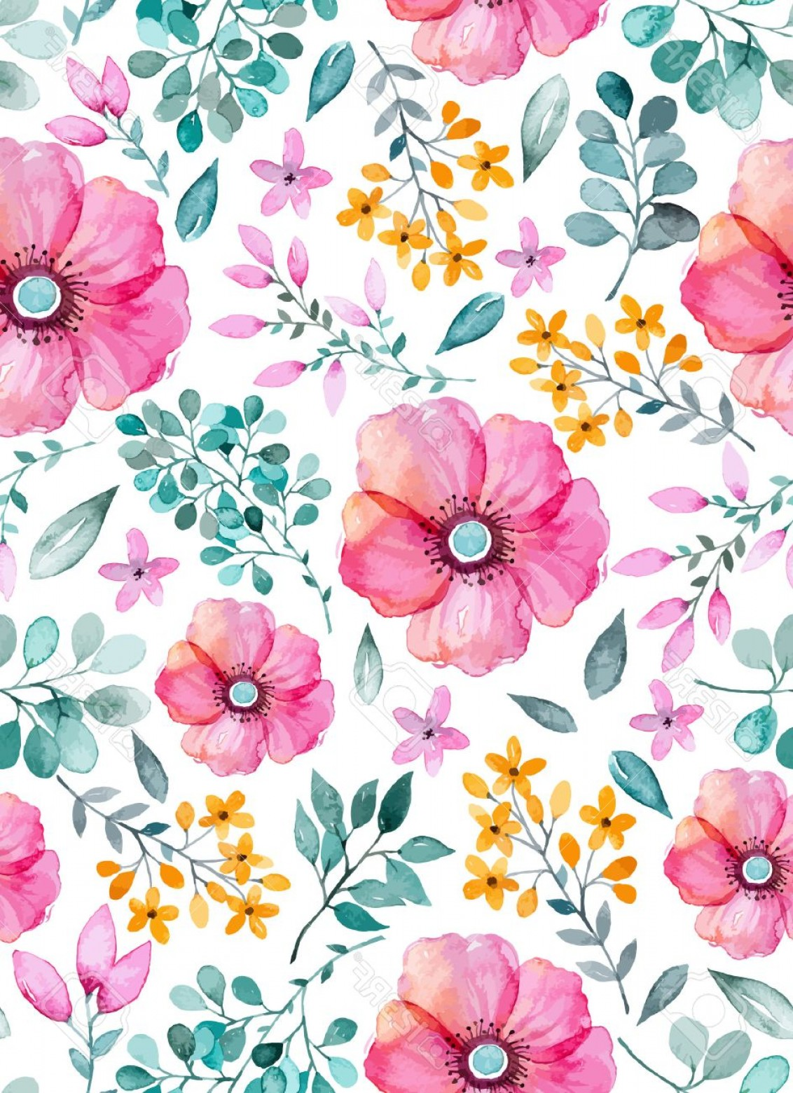Watercolor Floral Background Vector: Photostock Vector Watercolor Floral Seamless Pattern With Flowers And Leafs Colorful Floral Vector Illustration Spring