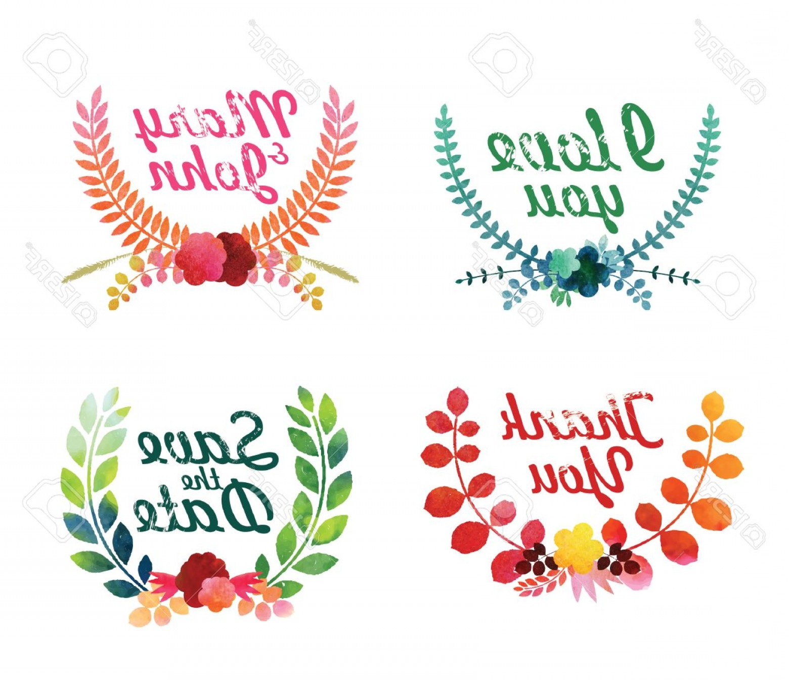 Flower Elements Vector: Photostock Vector Watercolor Laurel Wreaths Decorative Floral Elements Vector Illustration