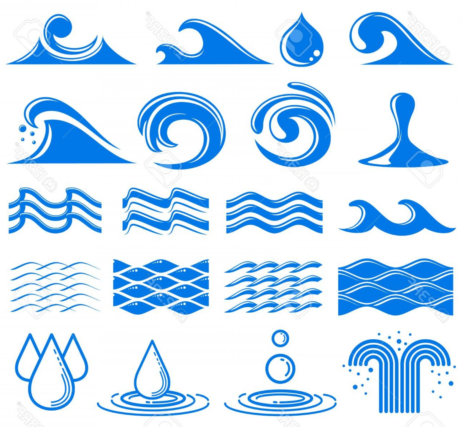 Vector Clip Art Of Water: Photostock Vector Waves And Water Vector Symbols Set Of Water Logos Wave And Fountain Illustration Of Water Element