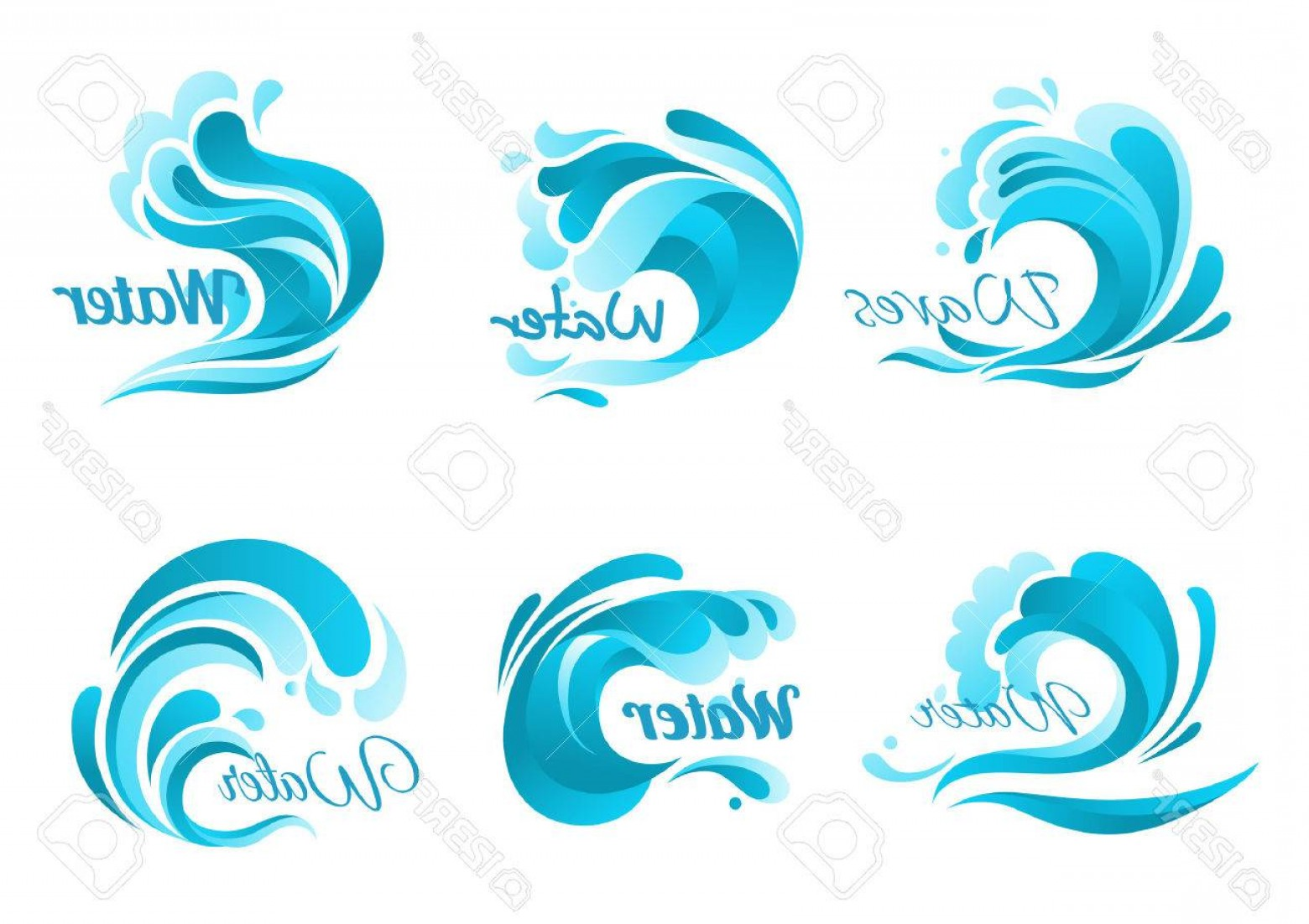 Ocean Wave Vector Illustration: Photostock Vector Waves Vector Isolated Icons Ocean Water Wave Blue Symbols In Form Of Splashes Tide Water Rollers Sto