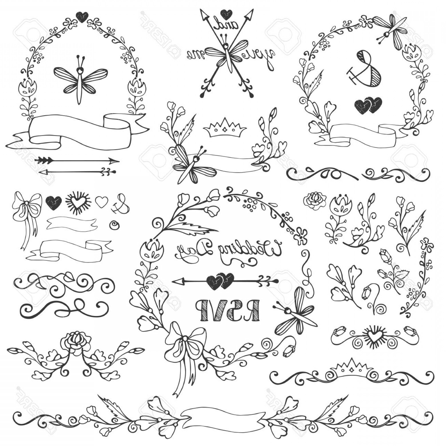 Arrow Border Frame Vector: Photostock Vector Wedding Doodles Floral Decor Elements Set Swirling Border Bloom Flowers Branches Wreath Frames Corne
