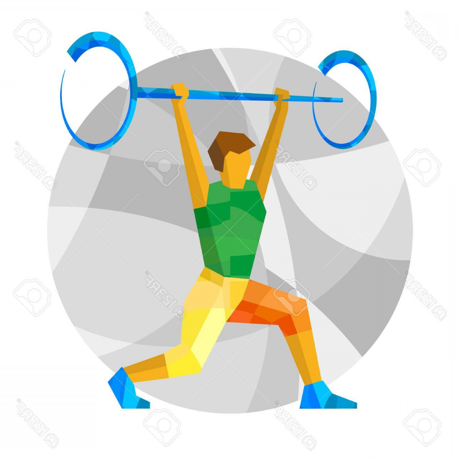 Weightlifter Vector Art: Photostock Vector Weightlifter With Abstract Patterns Flat Athlete Icon Vector Clip Art Sport Infographic Weightliftin