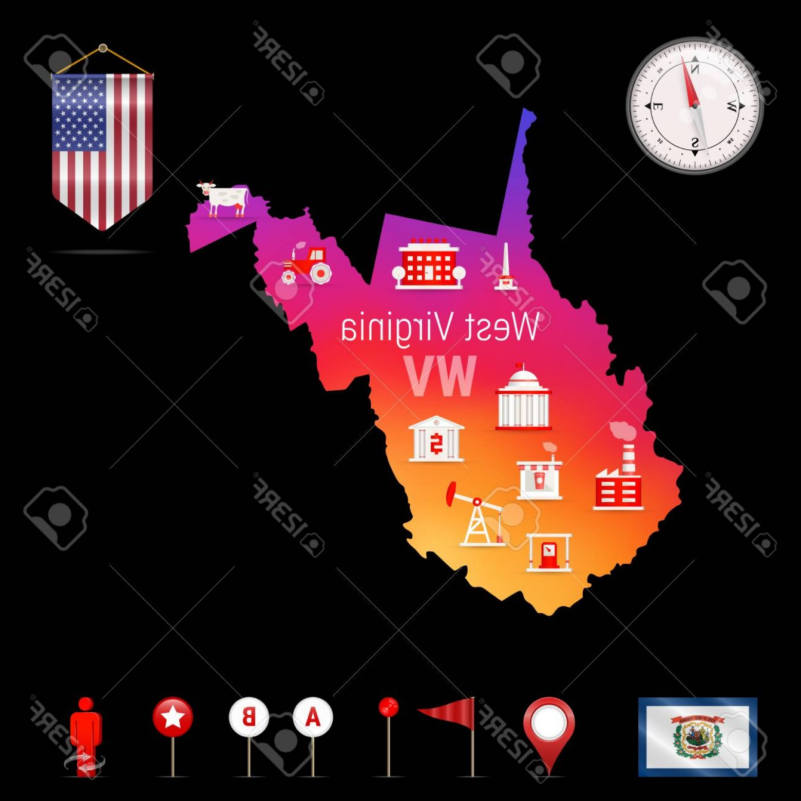 West Virginia Vector Files: Photostock Vector West Virginia Vector Map Night View Compass Icon Map Navigation Elements Pennant Flag Of The United