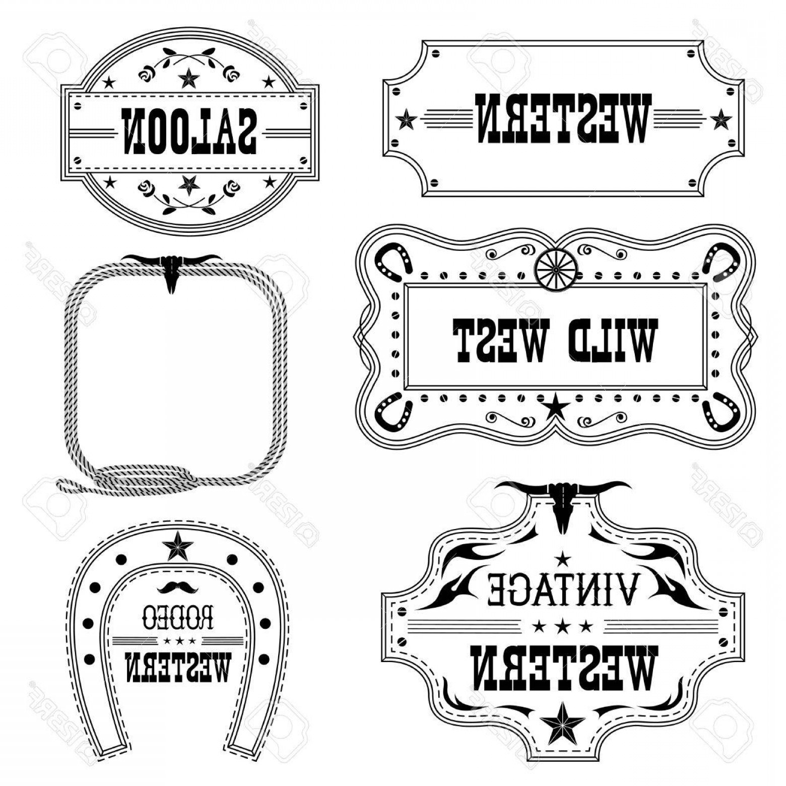 Antique Frames Vector: Photostock Vector Western Vintage Labels Isolated On White For Design Vector Antique Frames With Text